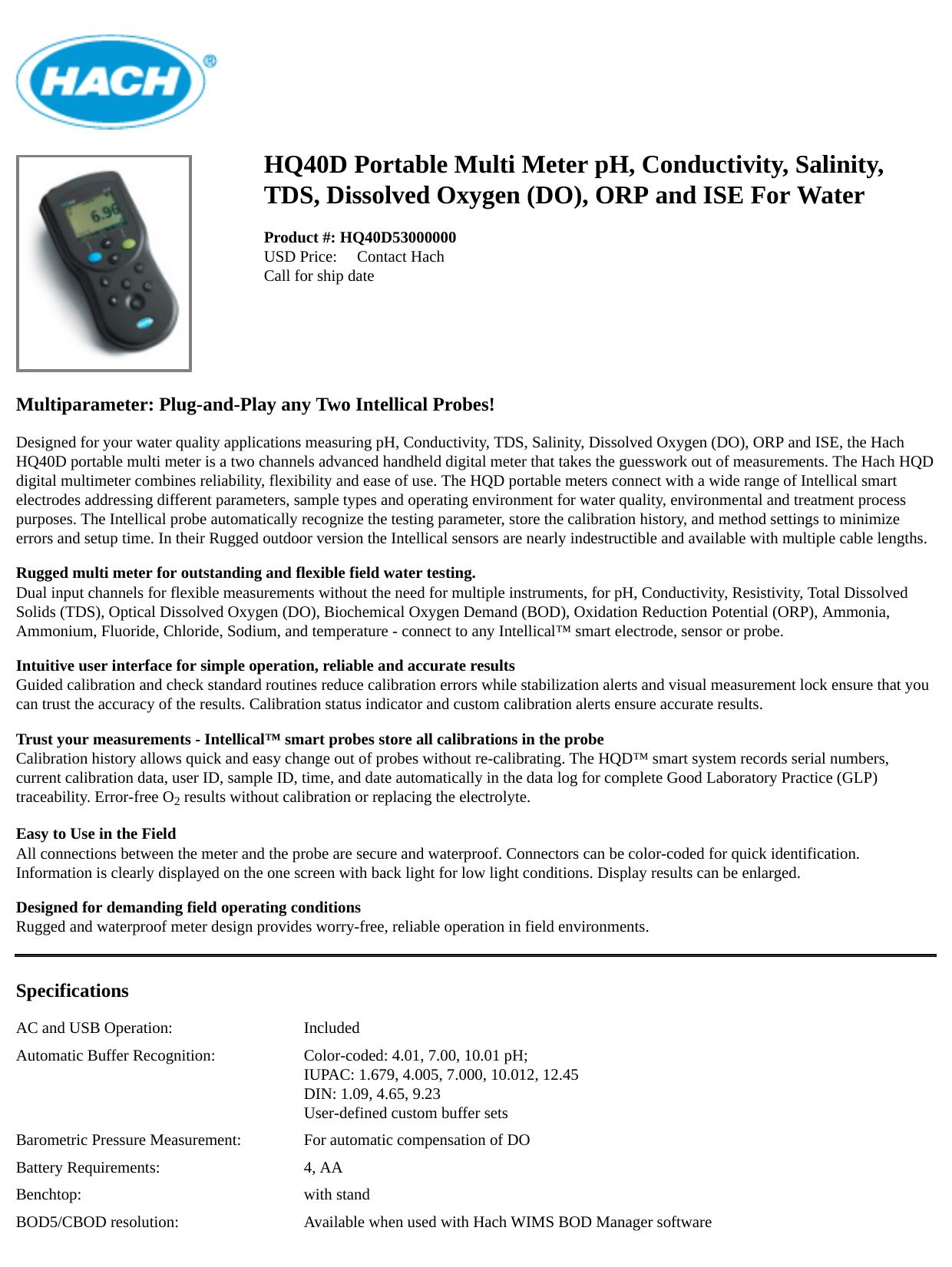 Hq40d Portable Multi Meter Ph Conductivity Salinity Tds Manualzz