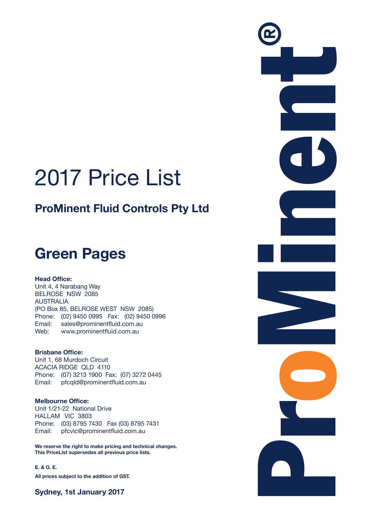 2017 Price List - Prominent Fluid Controls Australia