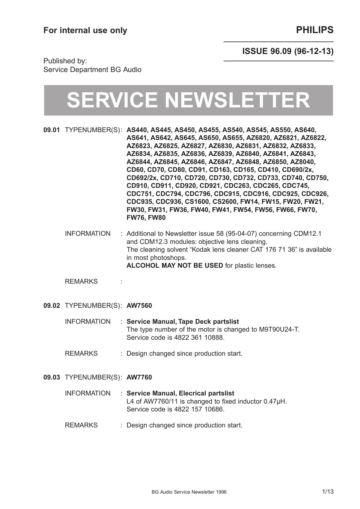 Service Newsletter 1996 | manualzz com