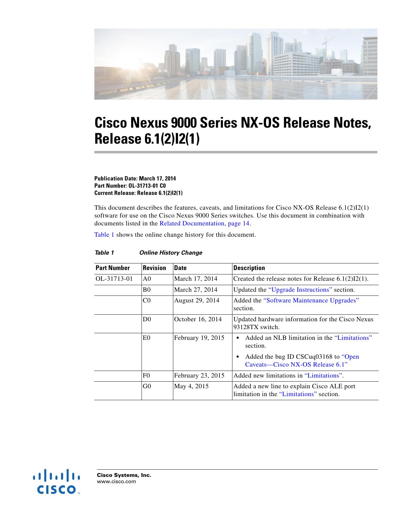 Cisco Nexus 9000 Series NX-OS Release Notes, Release 6 1(2