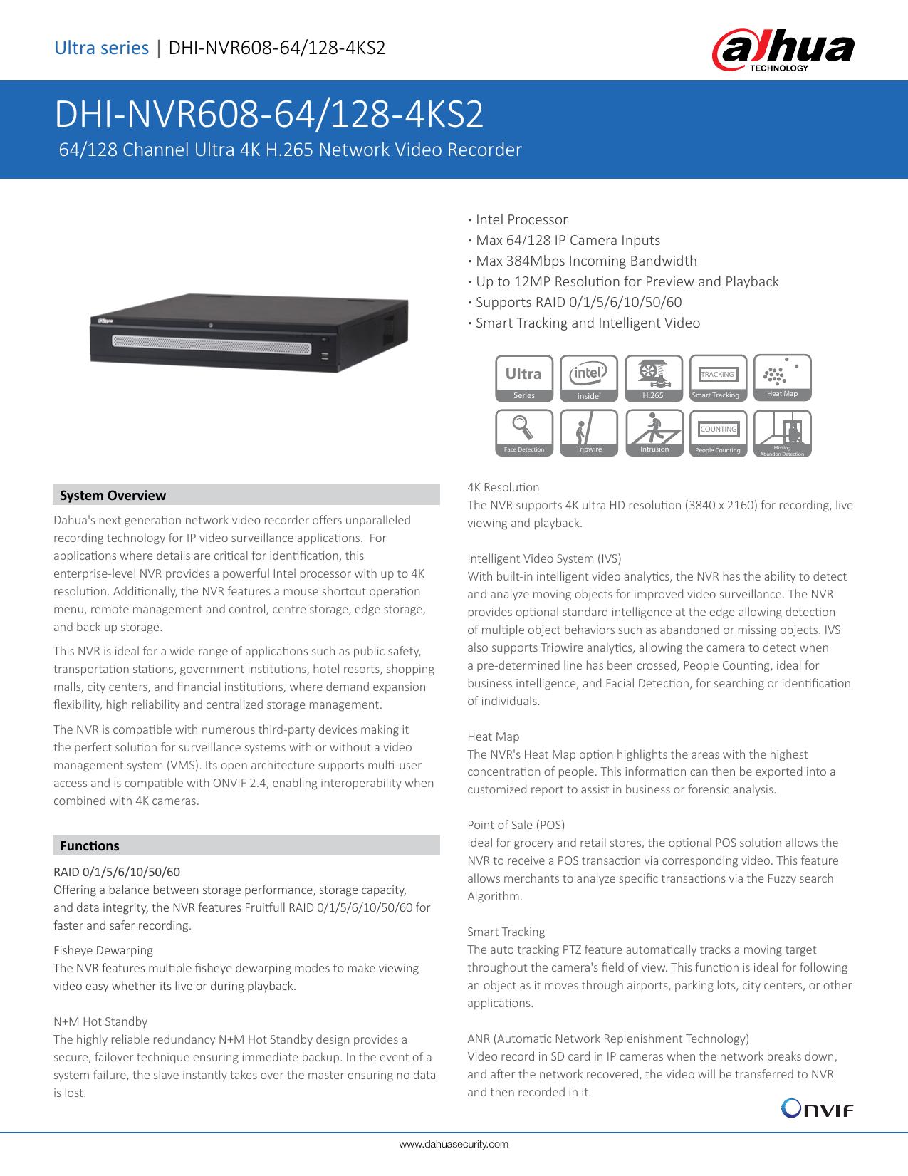 Dahua NVR608-128-4KS2 128 Channel Ultra 4K H.265 Smart Tracking ...
