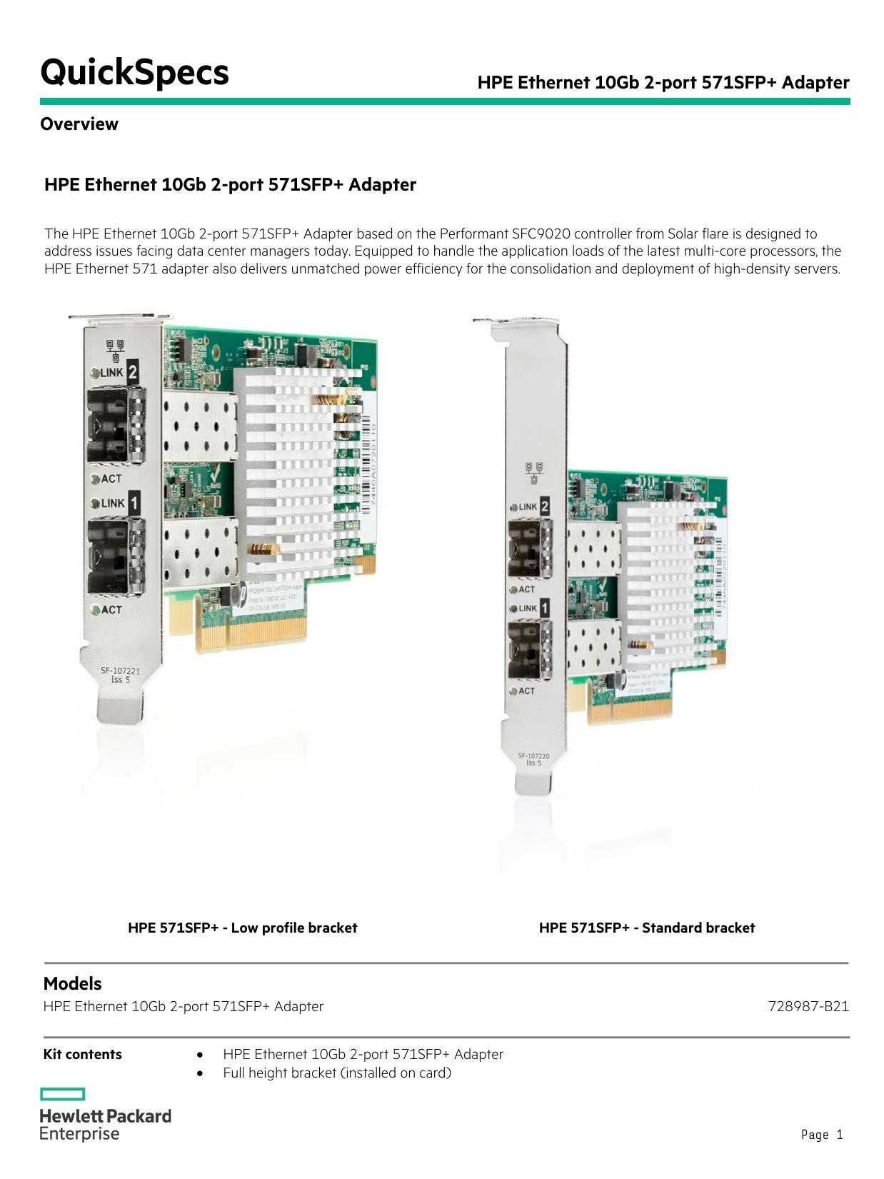 HPE Ethernet 10Gb 2-port 571SFP+ Adapter | manualzz com