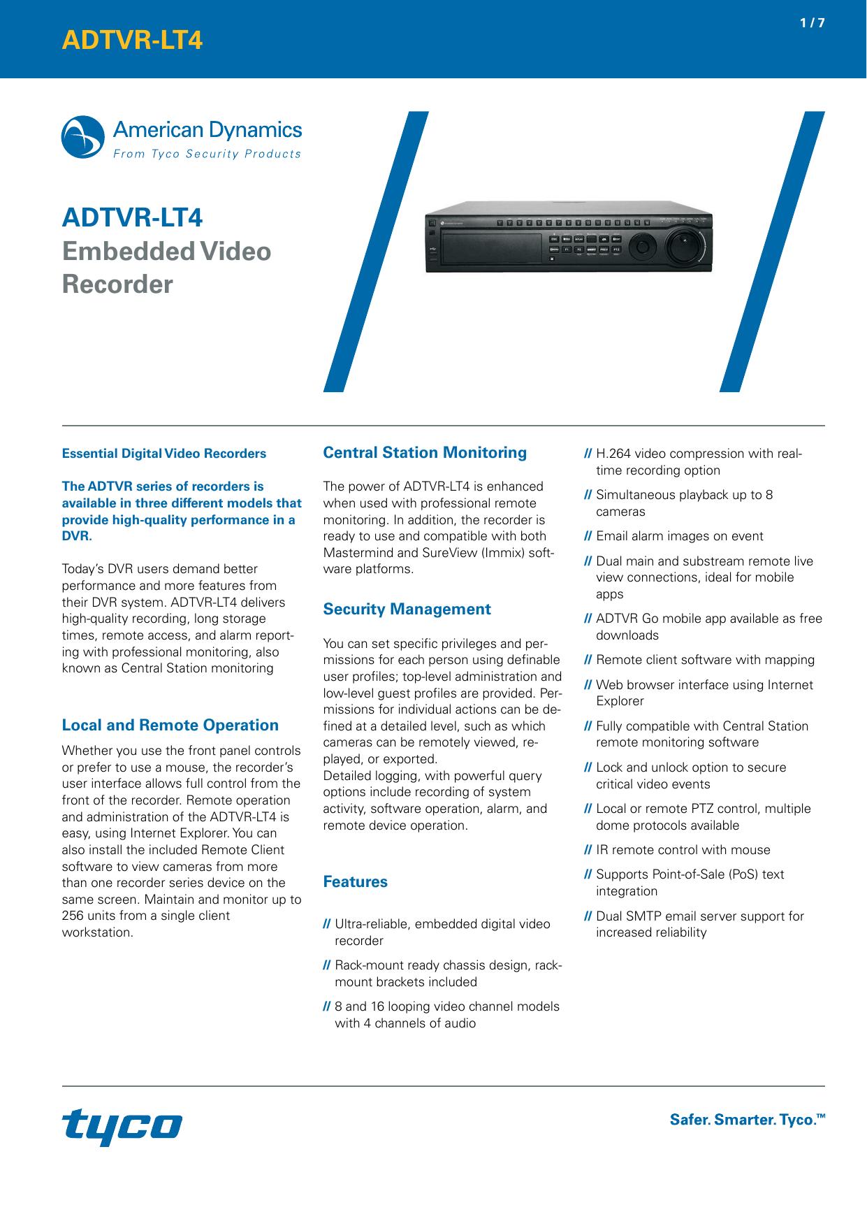 ADTVR-LT4 Embedded Video Recorder Tyco uk Branded datasheet