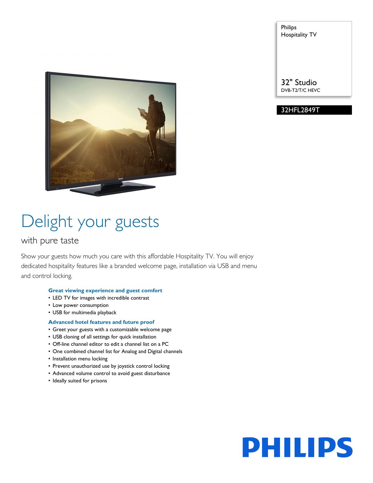 32HFL2849T/12 Philips Hospitality TV | manualzz com