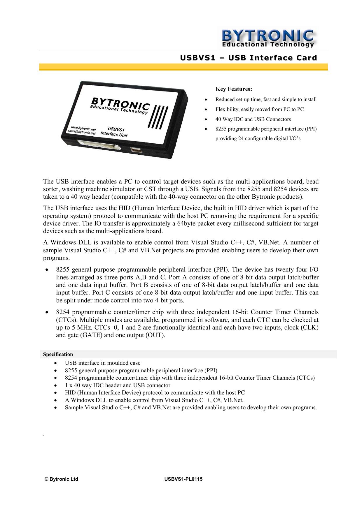 USBVS1 – USB Interface Card   manualzz com