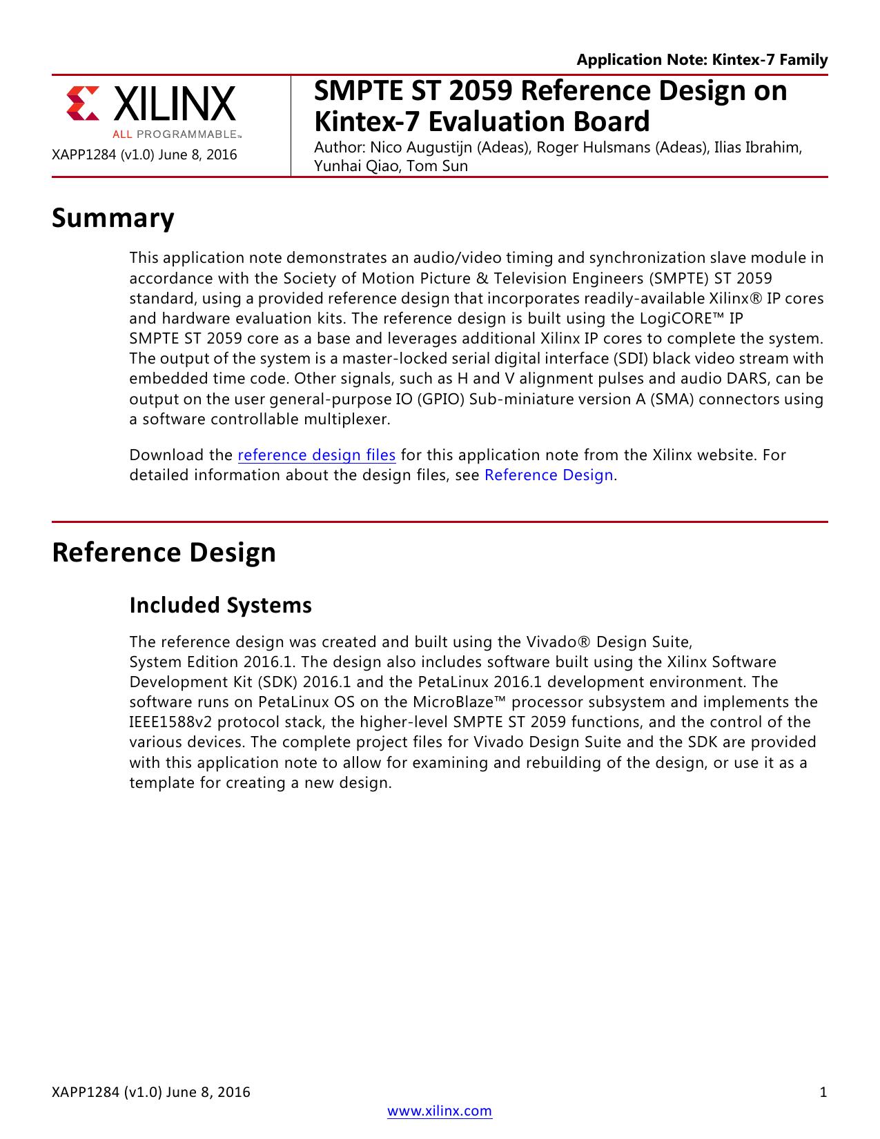 SMPTE ST 2059 Reference Design on Kintex-7 Evaluation