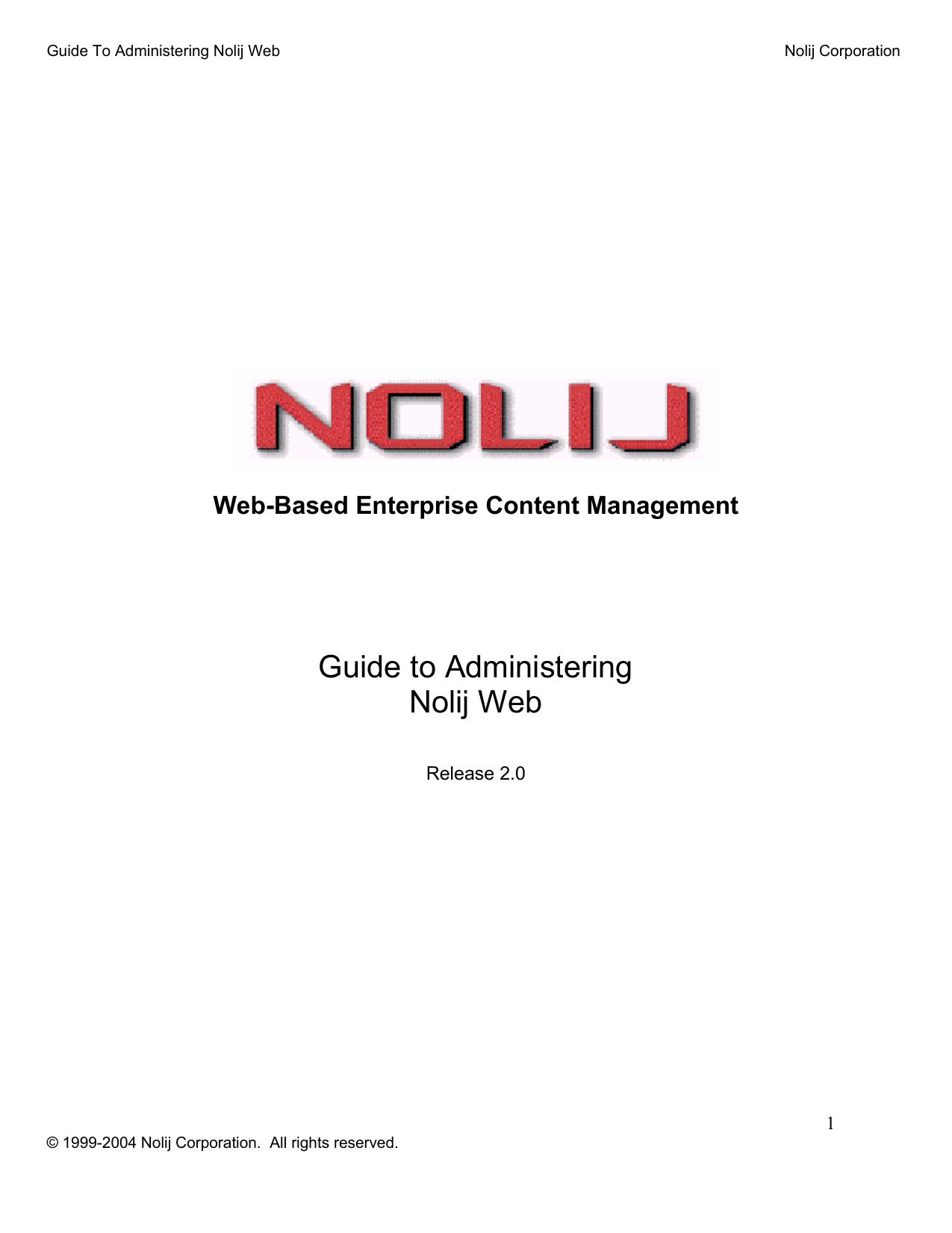 Nolij Web Administration Technical Guide | manualzz com
