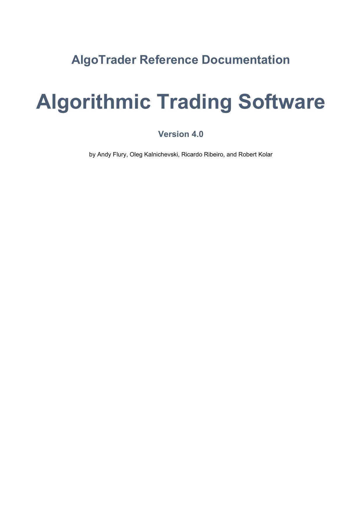 Algorithmic Trading Software   manualzz com