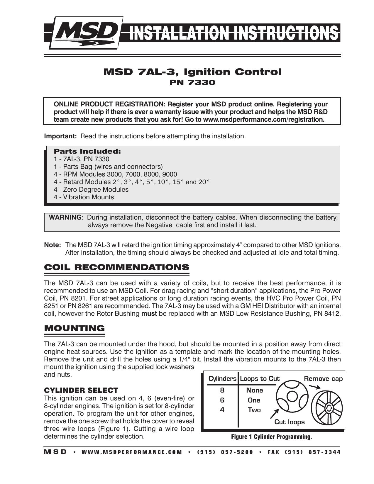 Msd 7al 3 Ignition Control Wiring For 2 Cylinder Engine