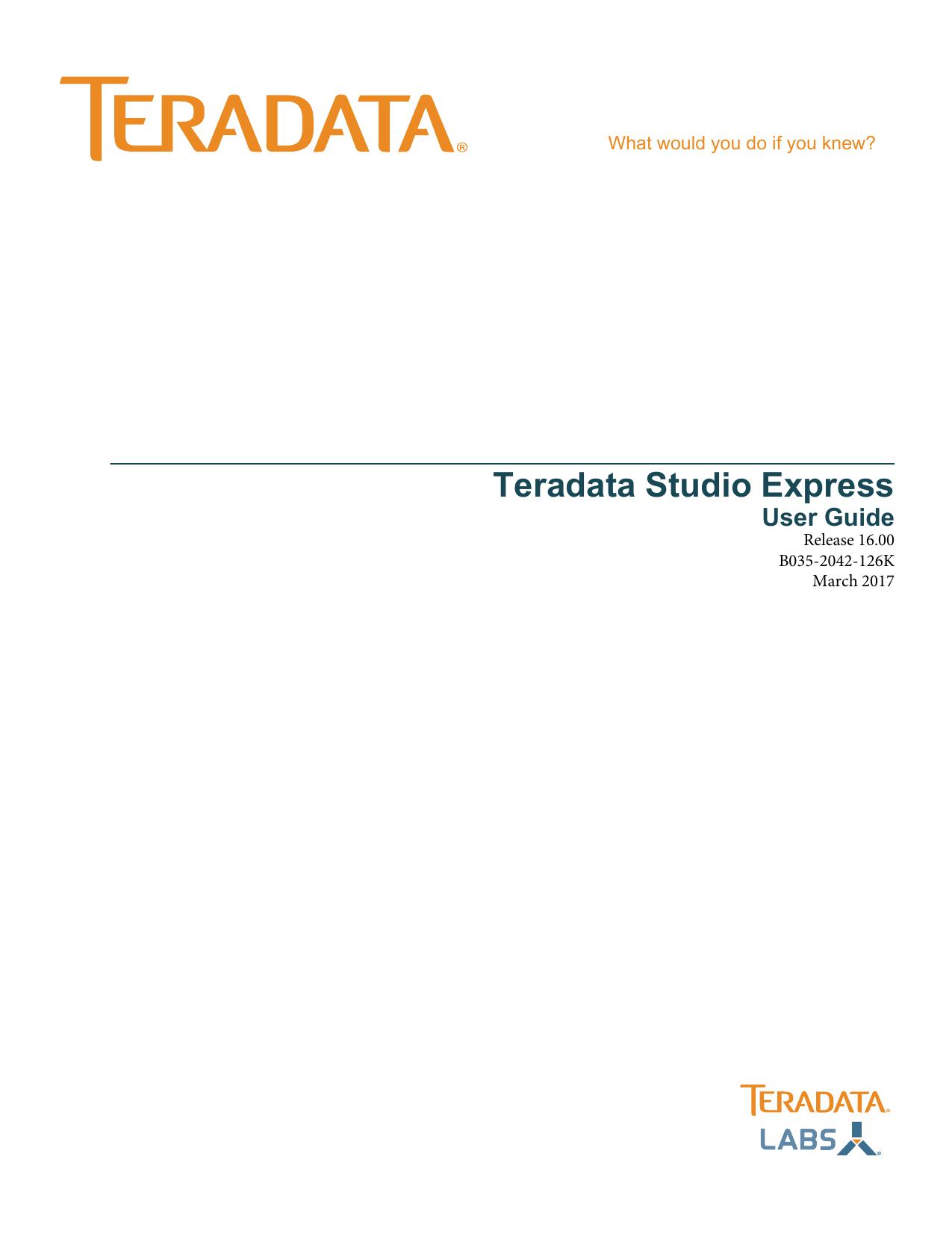 Teradata Studio Express User Guide   manualzz com