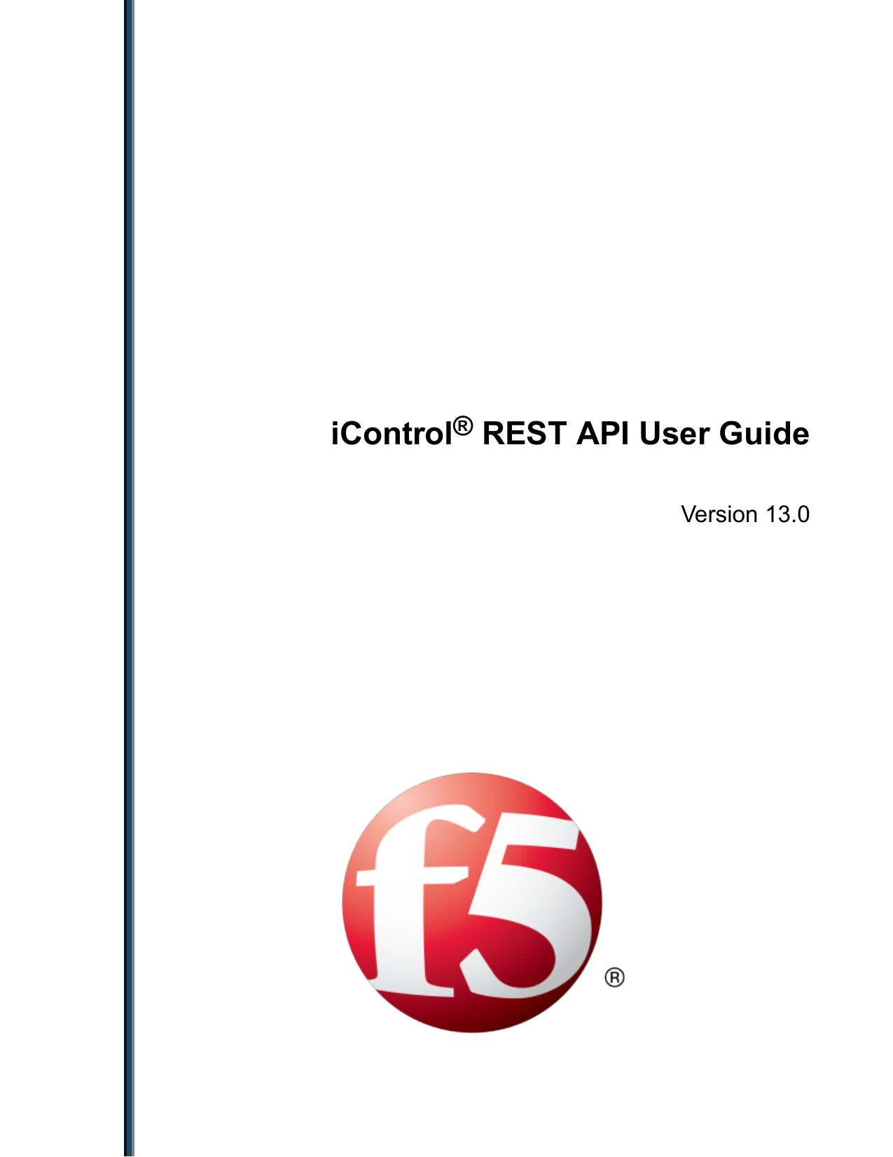iControl® REST API User Guide - F5 DevCentral | manualzz com