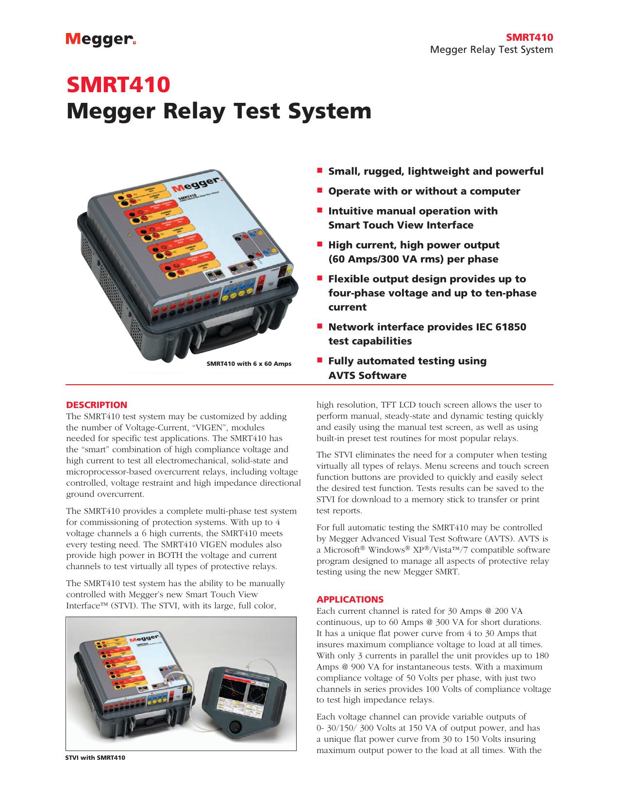 SMRT410 Megger Relay Test System - Multi | manualzz com