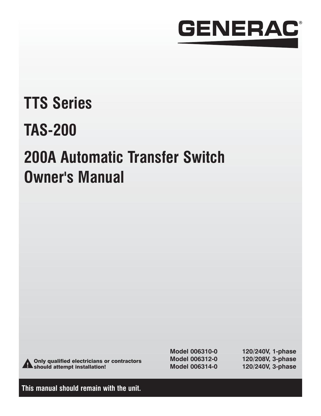 Generac Rts Transfer Switch Wiring Diagram