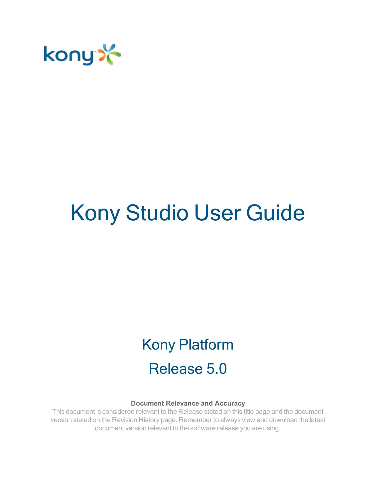 Kony Studio User Guide ver 5 0 | manualzz com