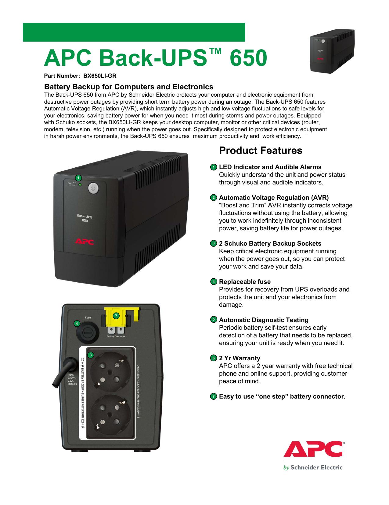 APC Back-UPS™ 650 | manualzz com