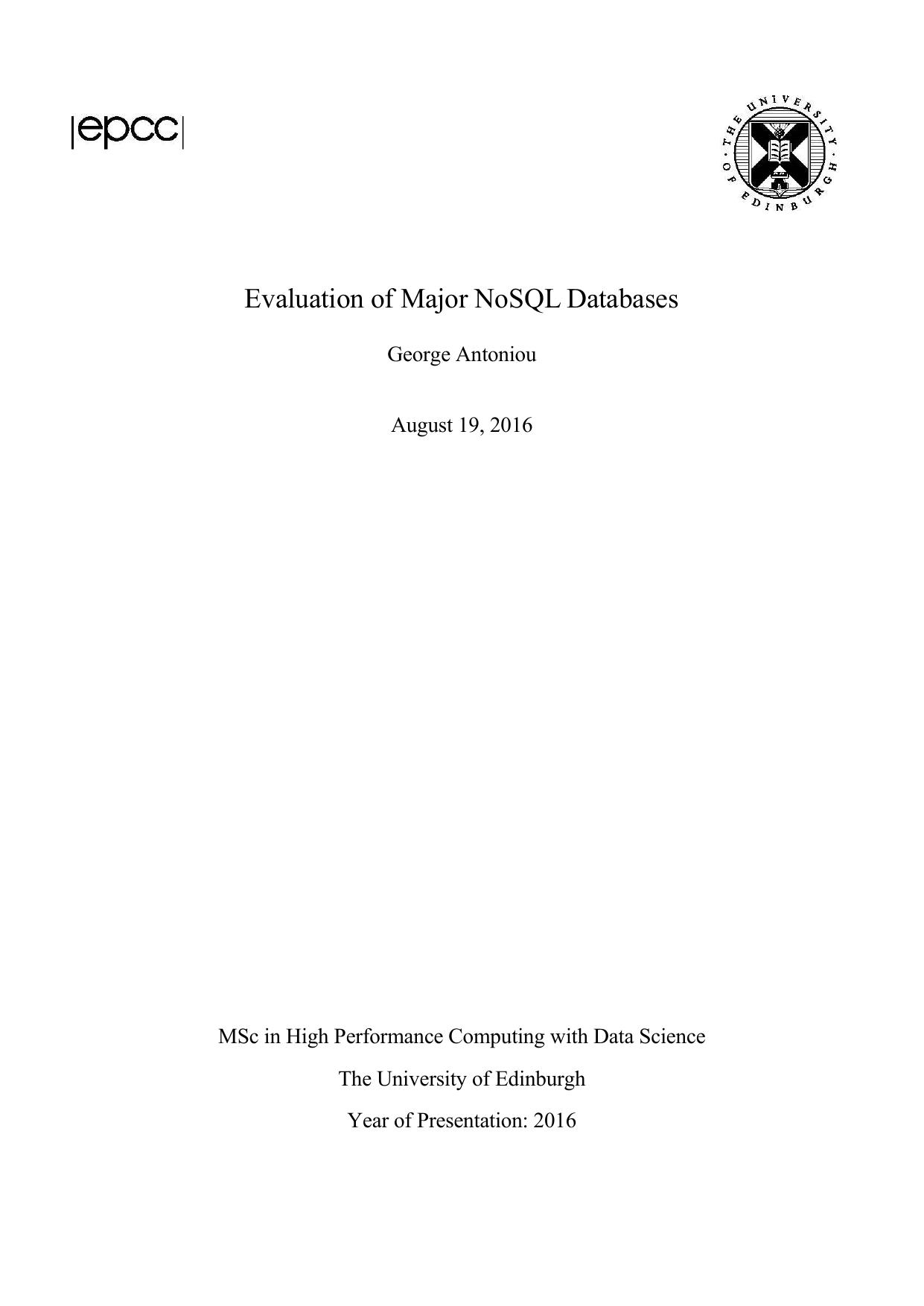 Evaluation of Major NoSQL Databases | manualzz com