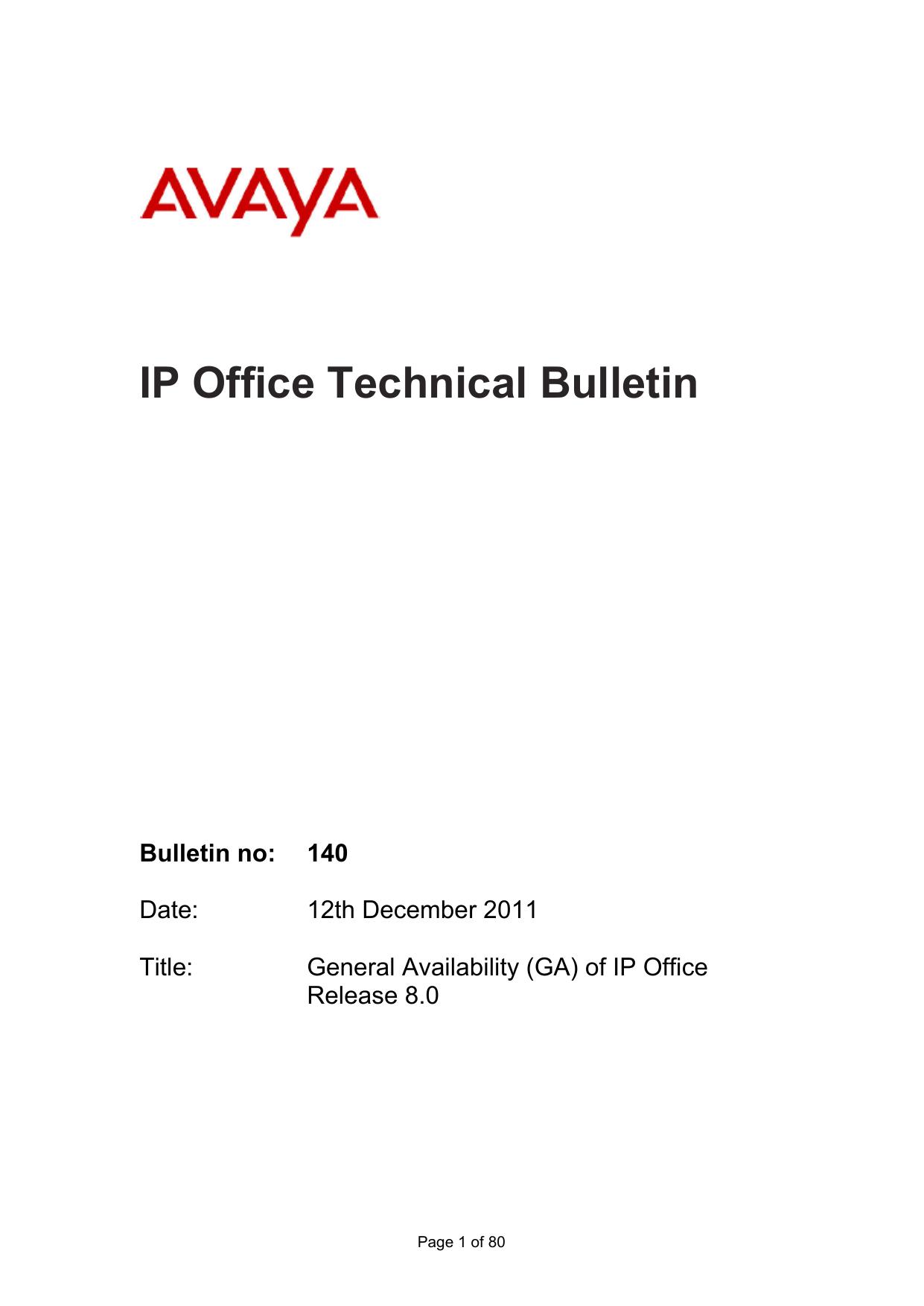 IP Office Technical Bulletin number 140 | manualzz com