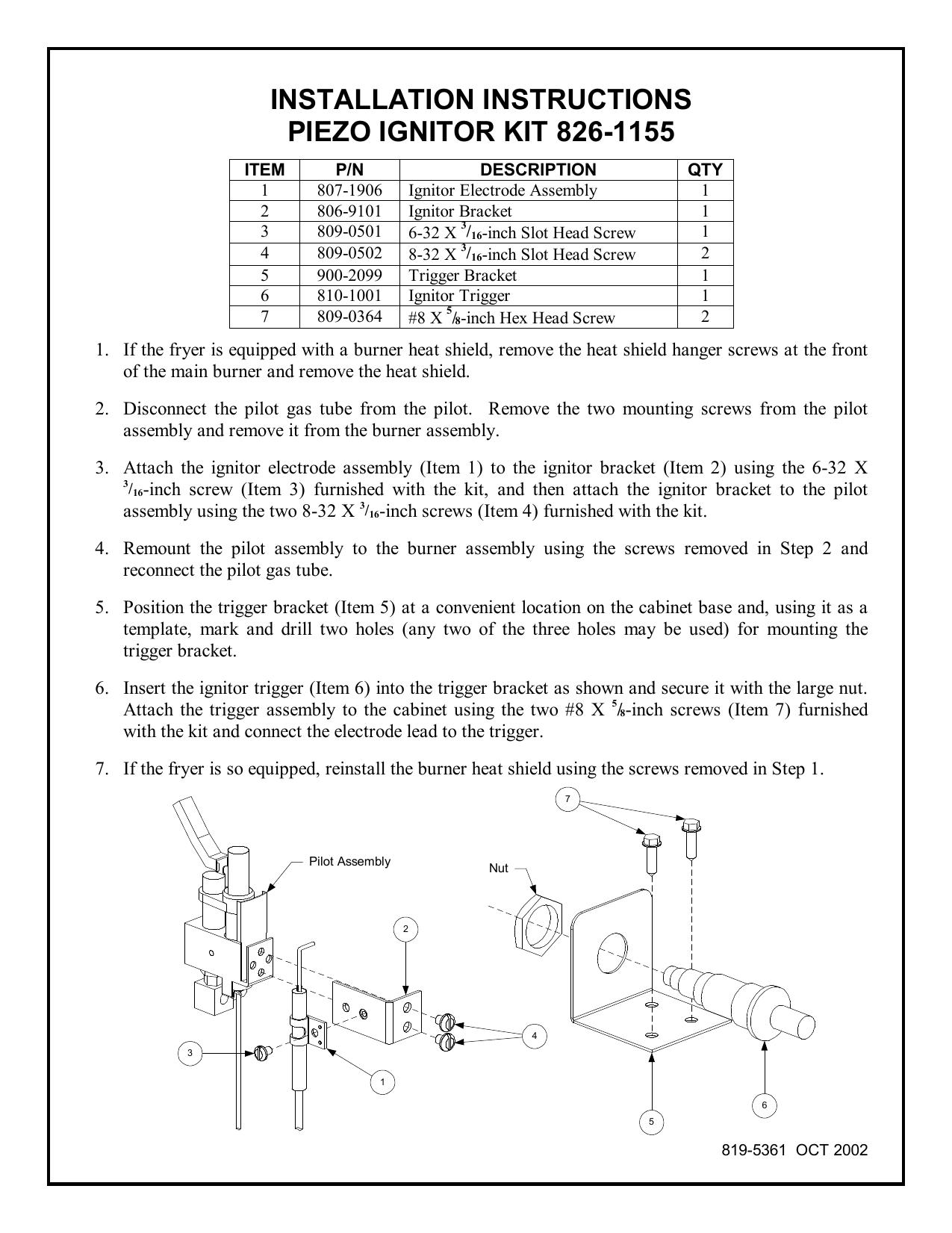 installation instructions piezo ignitor kit 826-1155