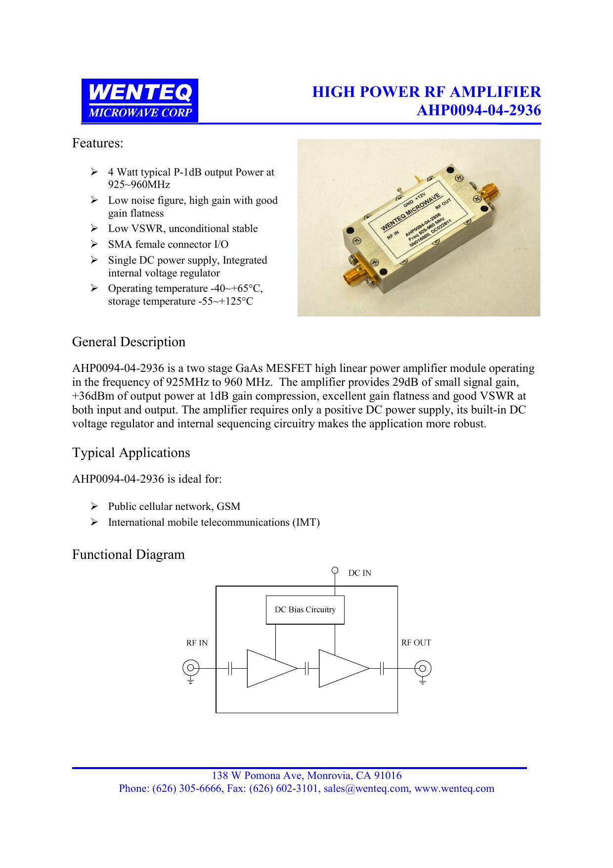 high power rf amplifier ahp0094-04-2936 | manualzz com