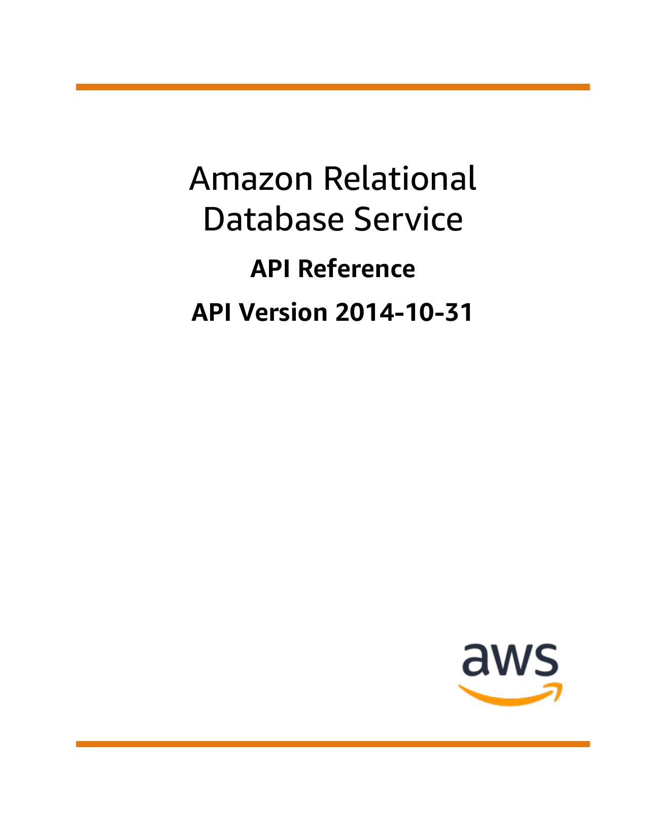 Amazon Relational Database Service Api Reference Manualzzcom