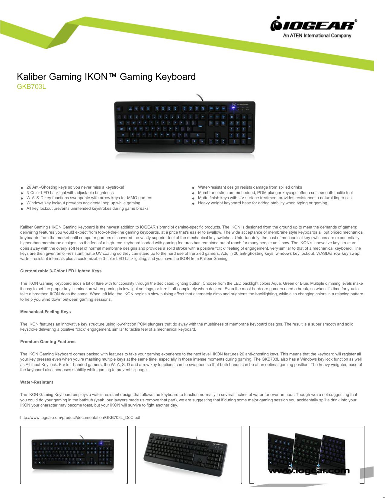 Kaliber Gaming IKON™ Gaming Keyboard | manualzz com