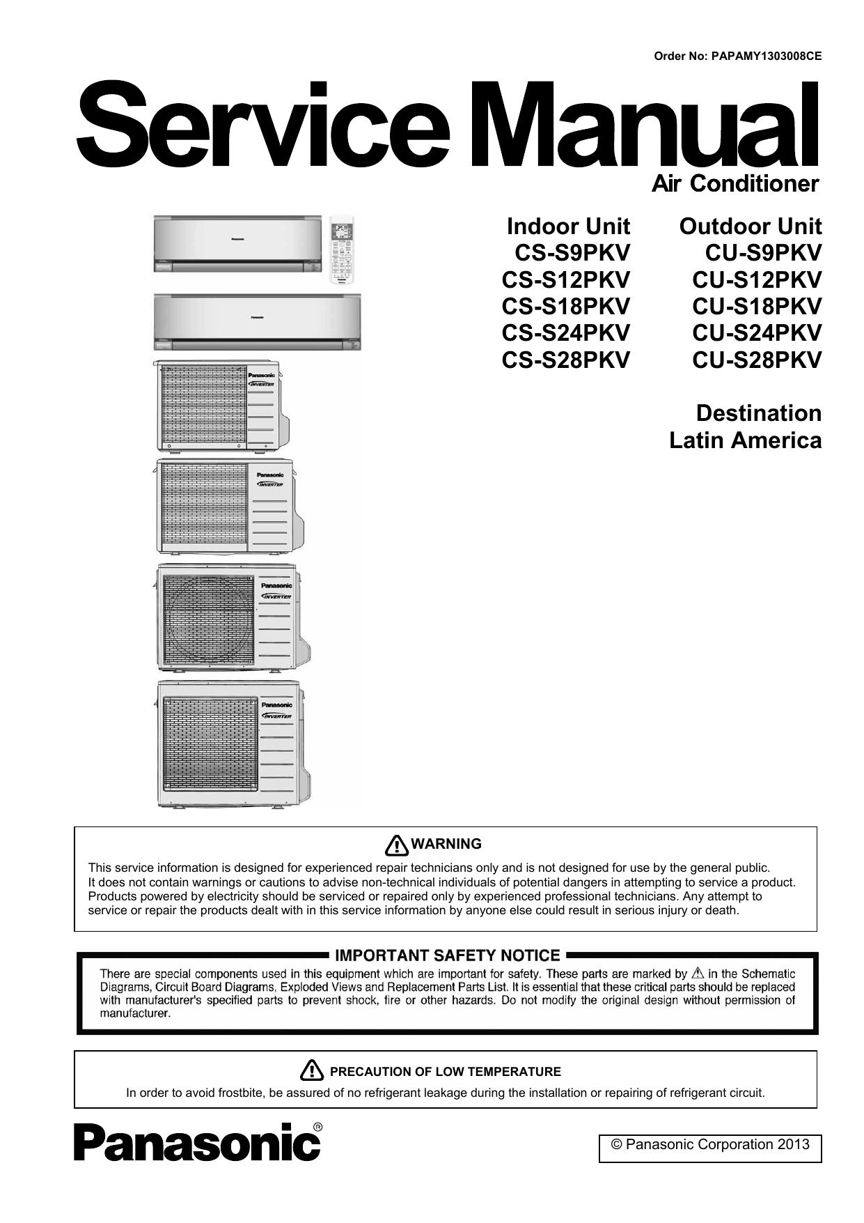 Indoor Unit Outdoor Unit CS-S9PKV CS-S12PKV CS | manualzz com