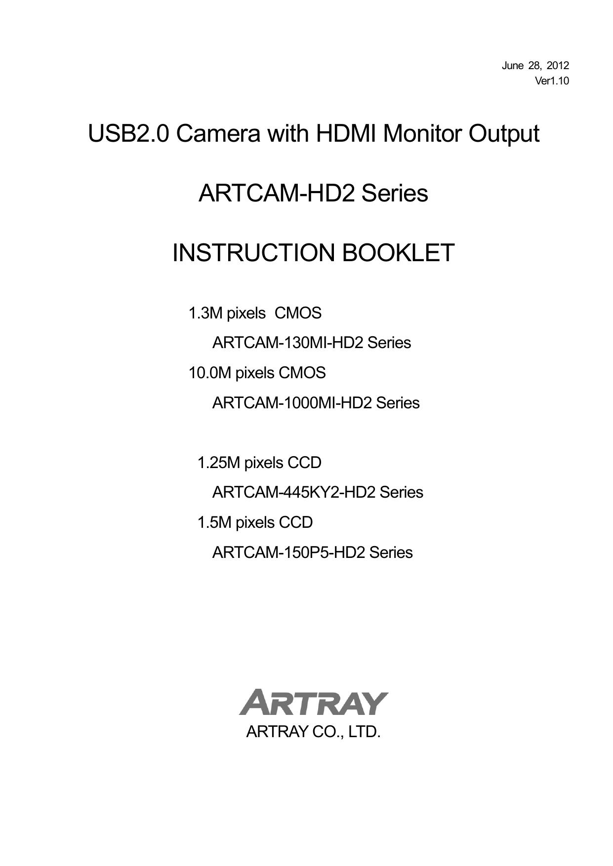 ARTRAY ARTCAM-1000MI USB2.0 HDMI CAMERA DRIVERS UPDATE