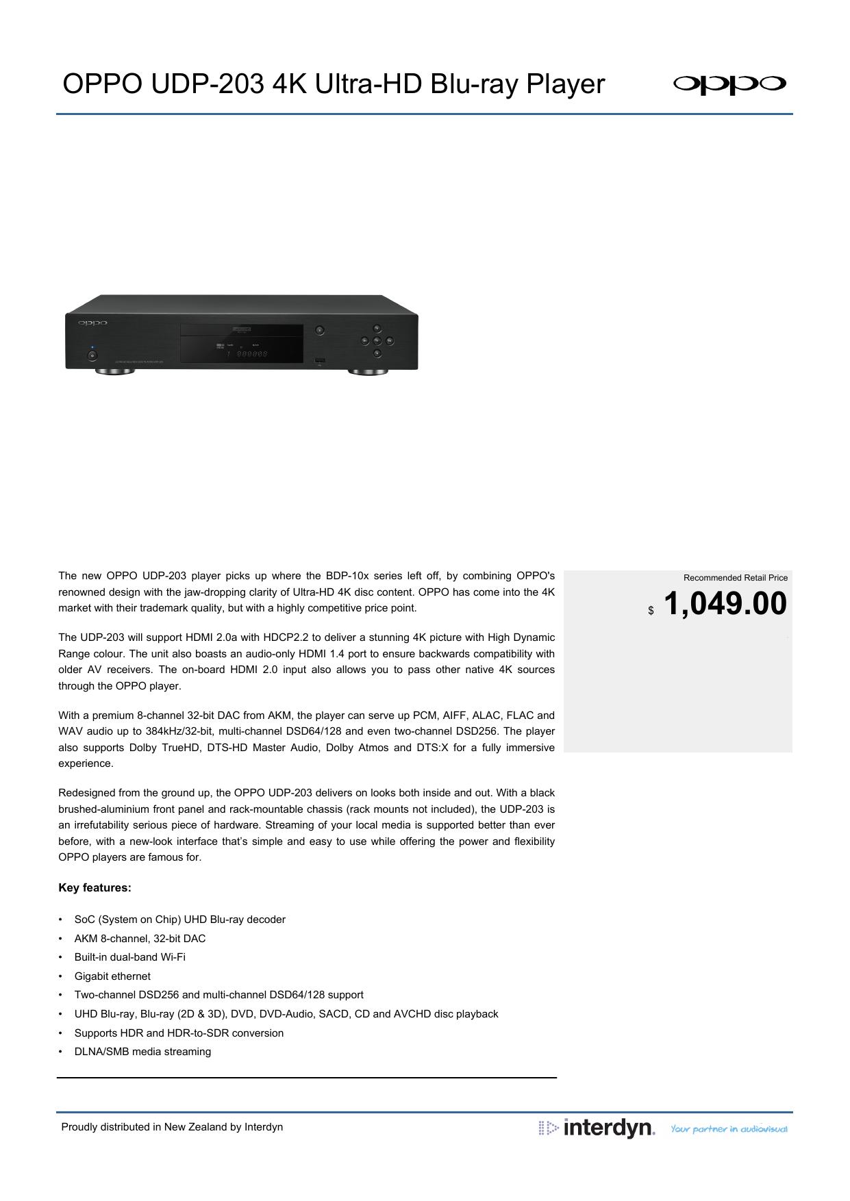 OPPO UDP-203 4K Ultra-HD Blu-ray Player | manualzz com
