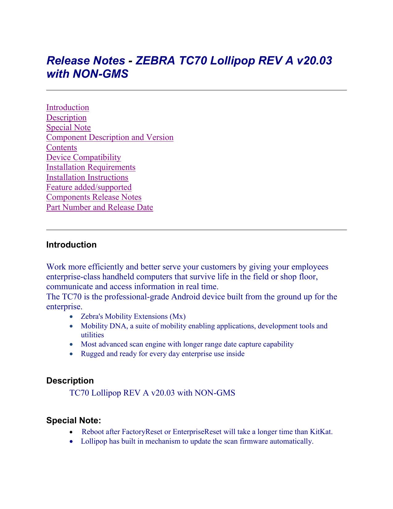 Release Notes - ZEBRA TC70 Lollipop REV A v20 03 with NON