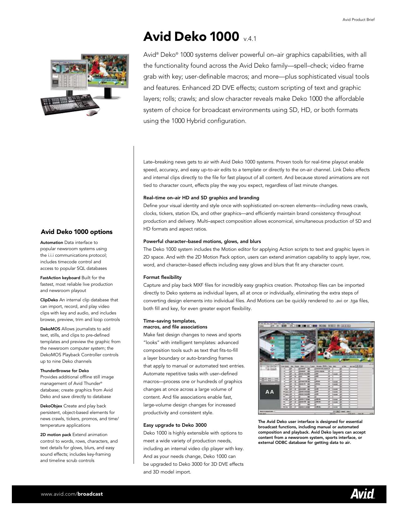 Avid Deko 1000 v 4 1 - AV-iQ | manualzz com