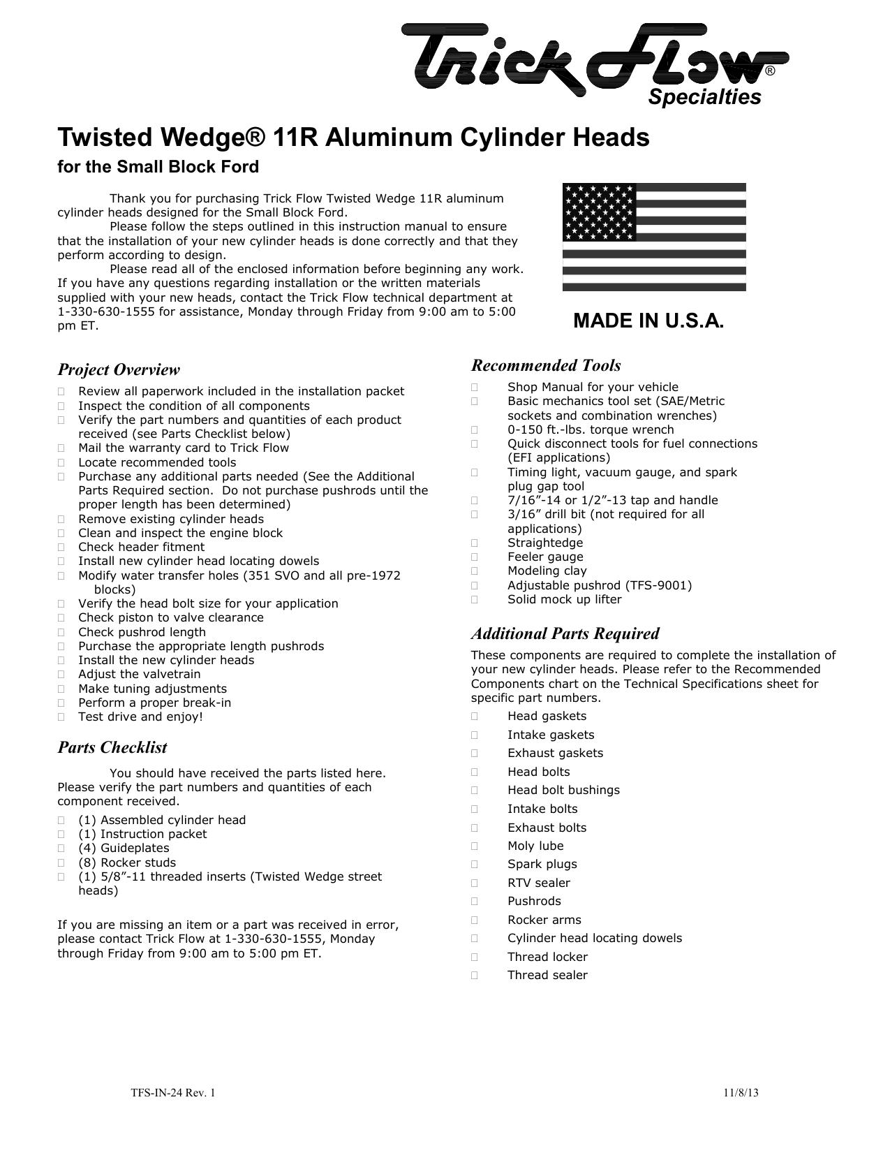 Twisted Wedge® 11R Aluminum Cylinder Heads   manualzz com
