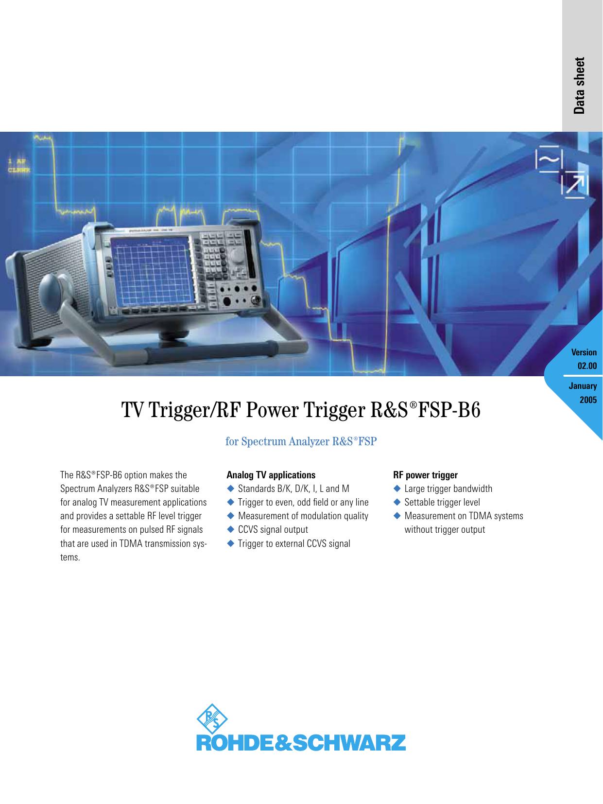TV Trigger/RF Power Trigger ¸FSP-B6 | manualzz com