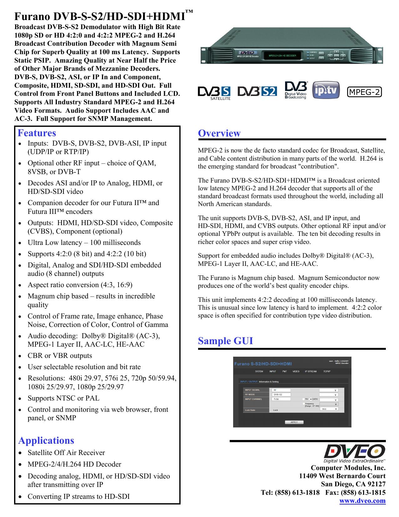 Furano DVB-S-S2/HD-SDI+HDMI -- Low Latency MPEG-2 | manualzz com
