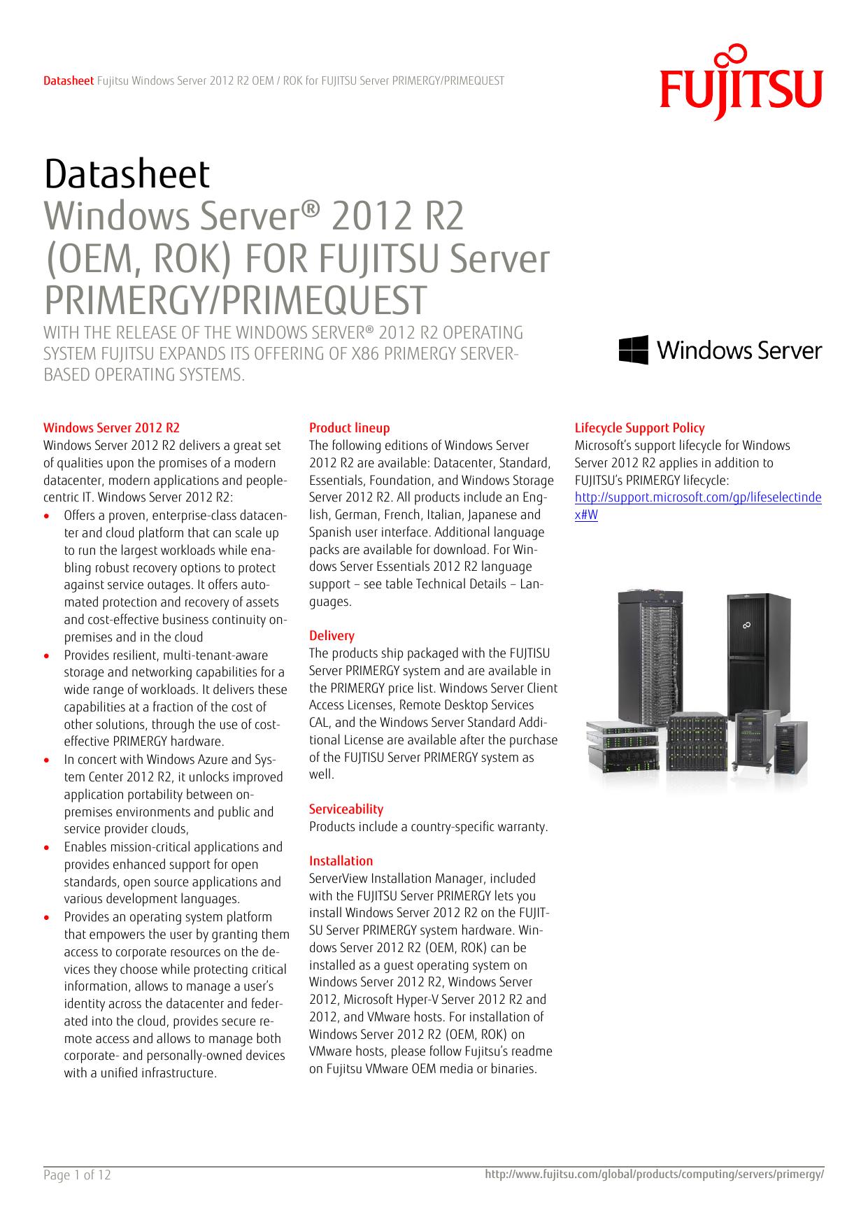 Datasheet Windows Server® 2012 R2 (OEM, ROK) FOR FUJITSU   manualzz com