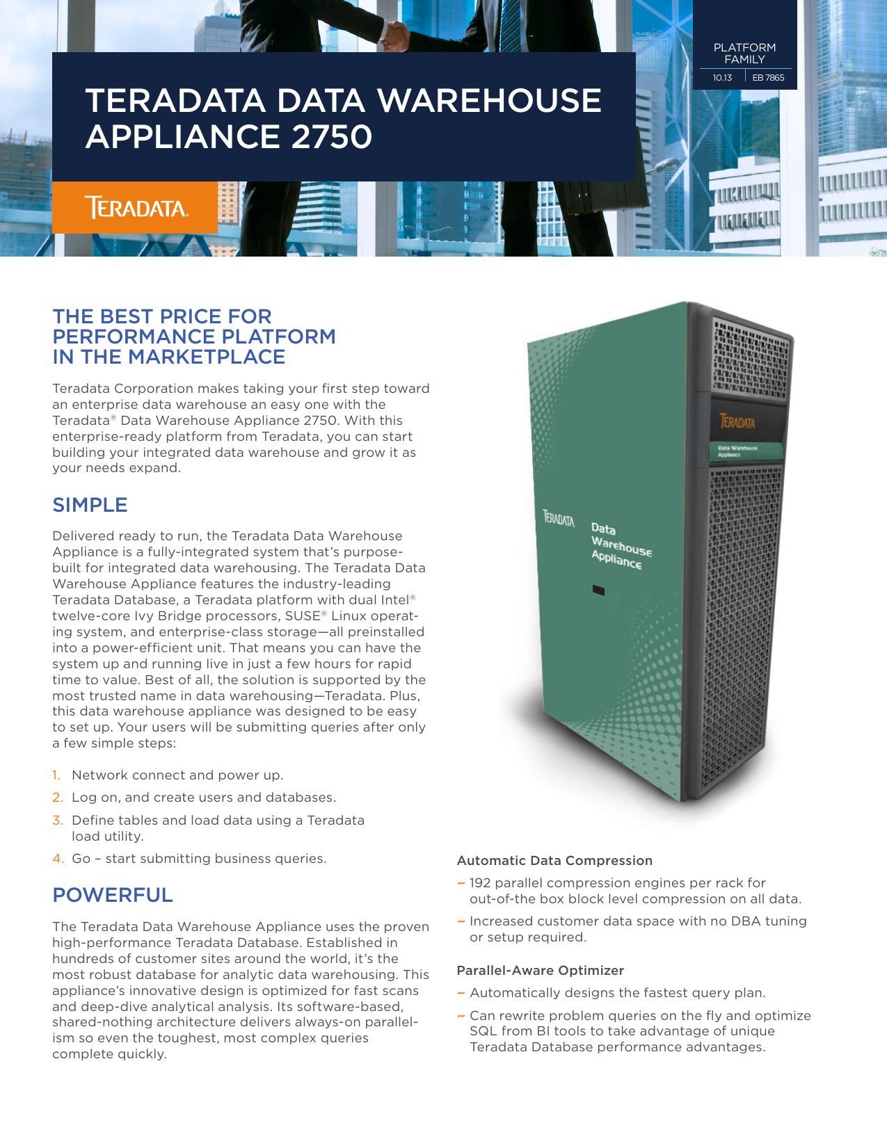 Teradata Data Warehouse Appliance 2750 | manualzz com