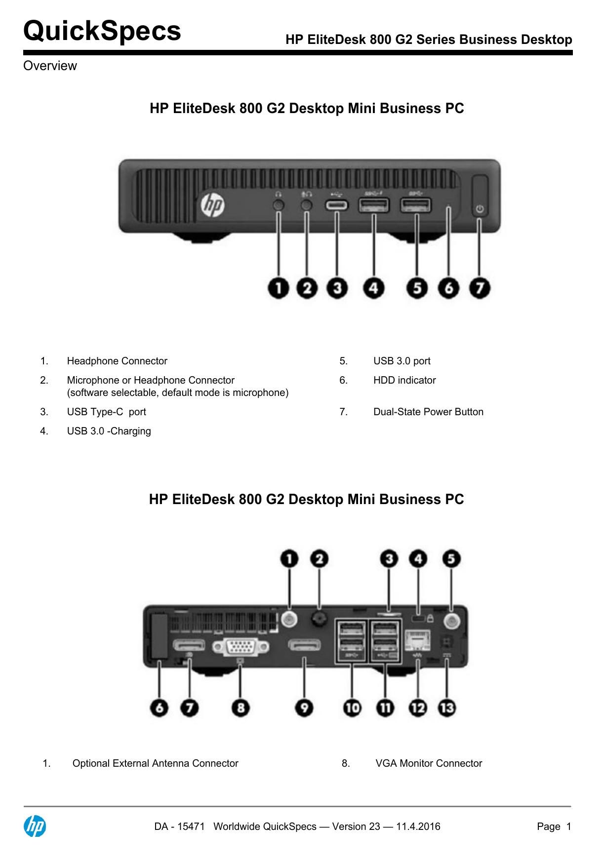 HP EliteDesk 800 G2 Series Business Desktop | manualzz com