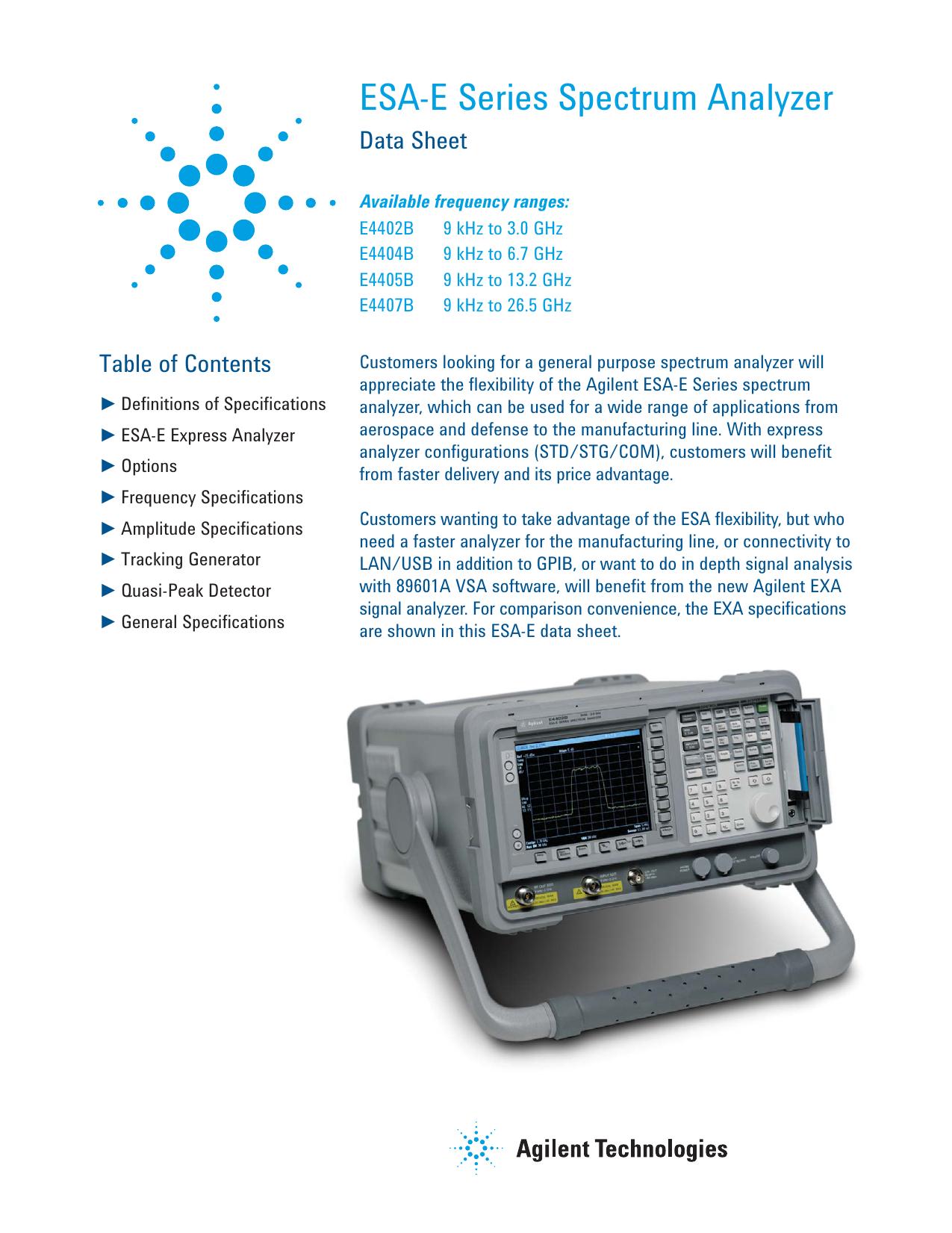 Agilent E4402B ESA-E Series Spectrum Ananlyzer | manualzz com