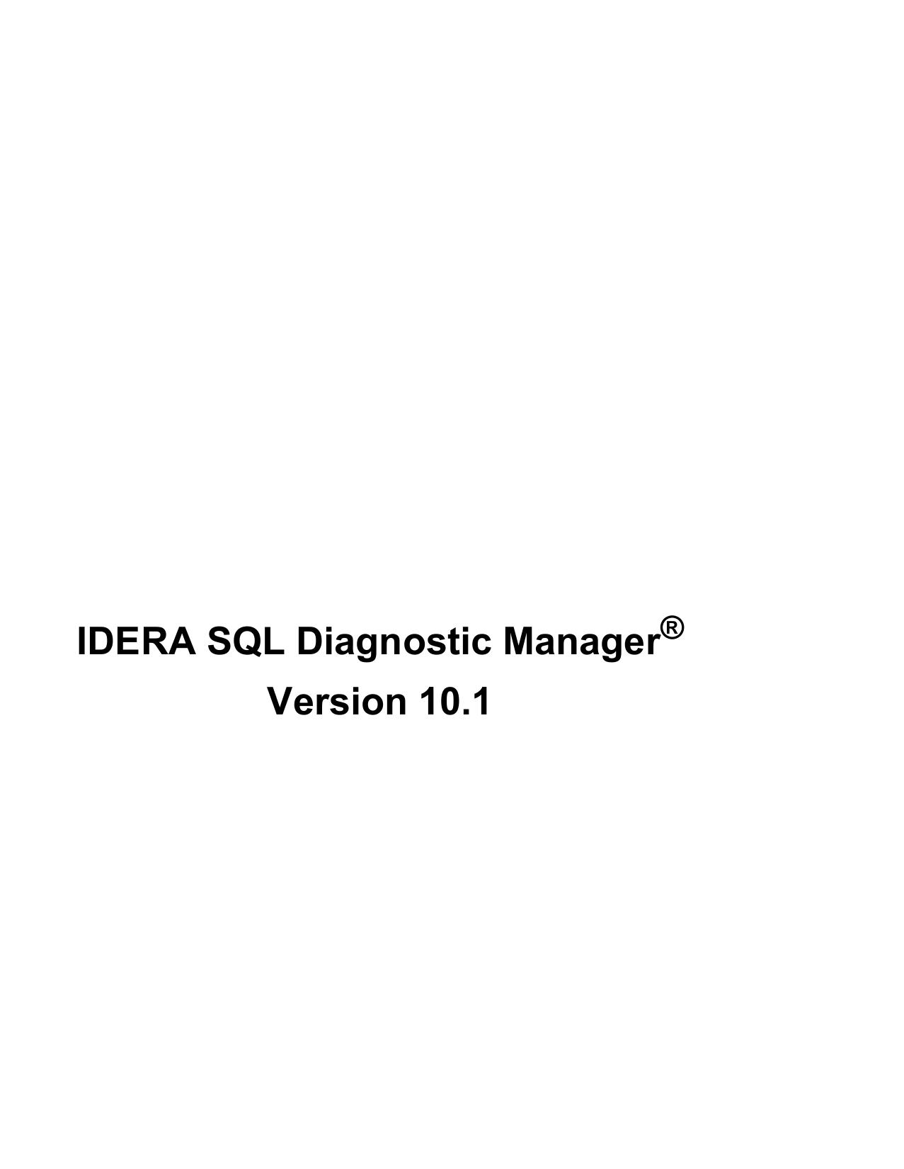 IDERA SQL Diagnostic Manager Version 10 1 | manualzz com