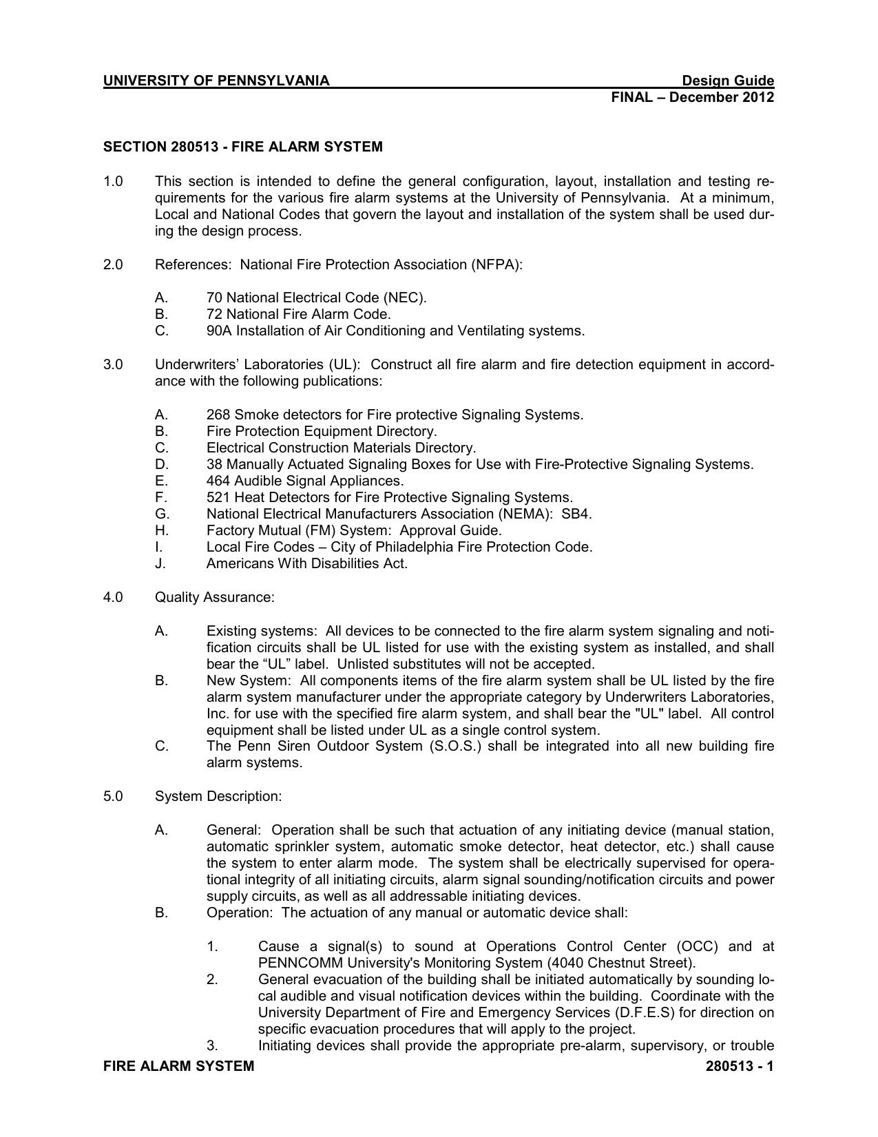 28 05 13 Fire Alarm System Electrical Design Guide Manualzz