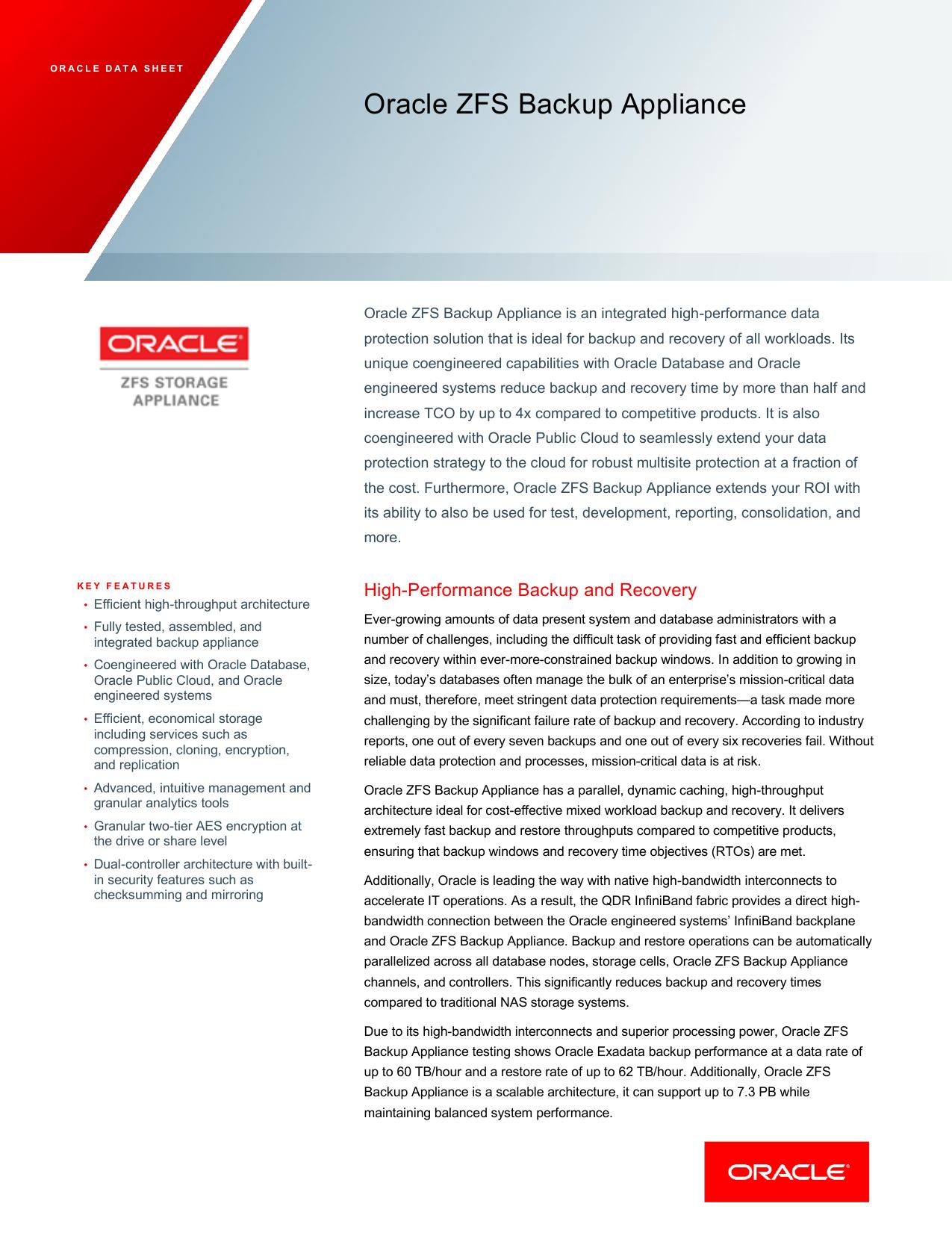 Oracle ZFS Backup Appliance Data Sheet | manualzz com