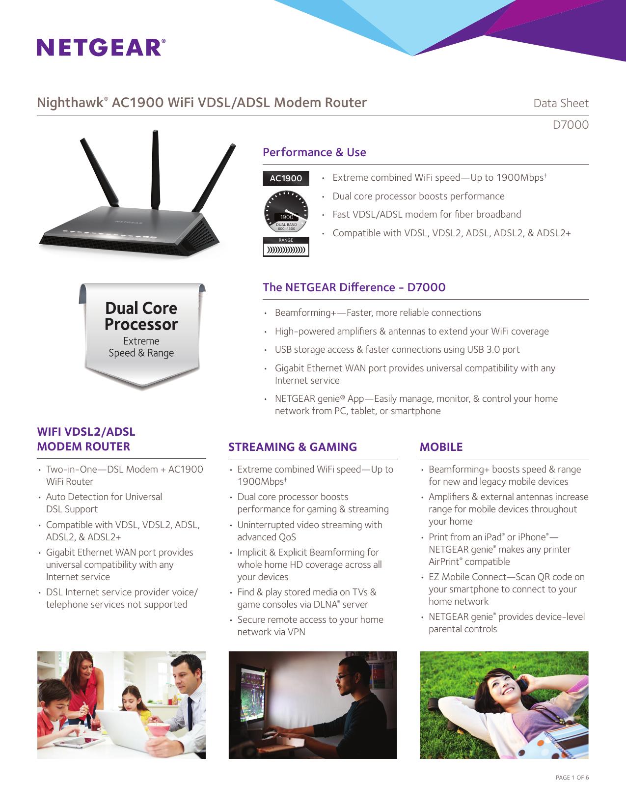 Nighthawk® AC1900 WiFi VDSL/ADSL Modem Router | manualzz com