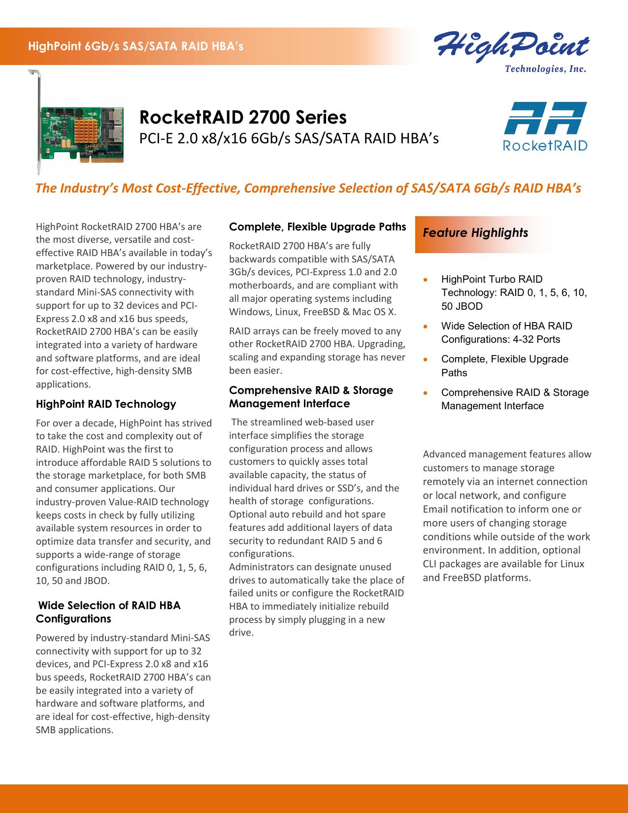 Highpoint Rocketraid 2740 PCIE 2.0 SAS 6GB//S HBA 16 PORT RAID CONTROLLER RR2740