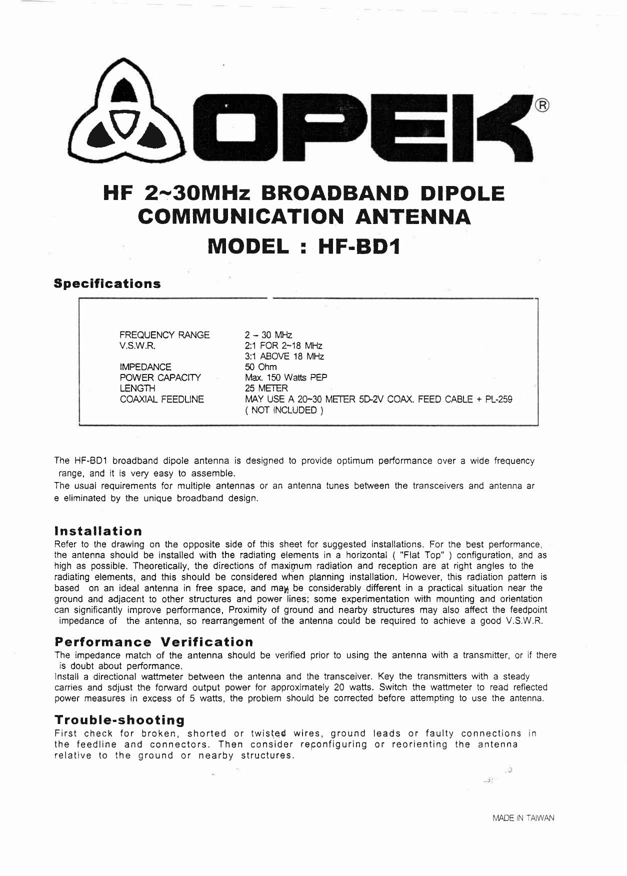 HF 2-3OMHz BROADBAND DIPOLE   manualzz com