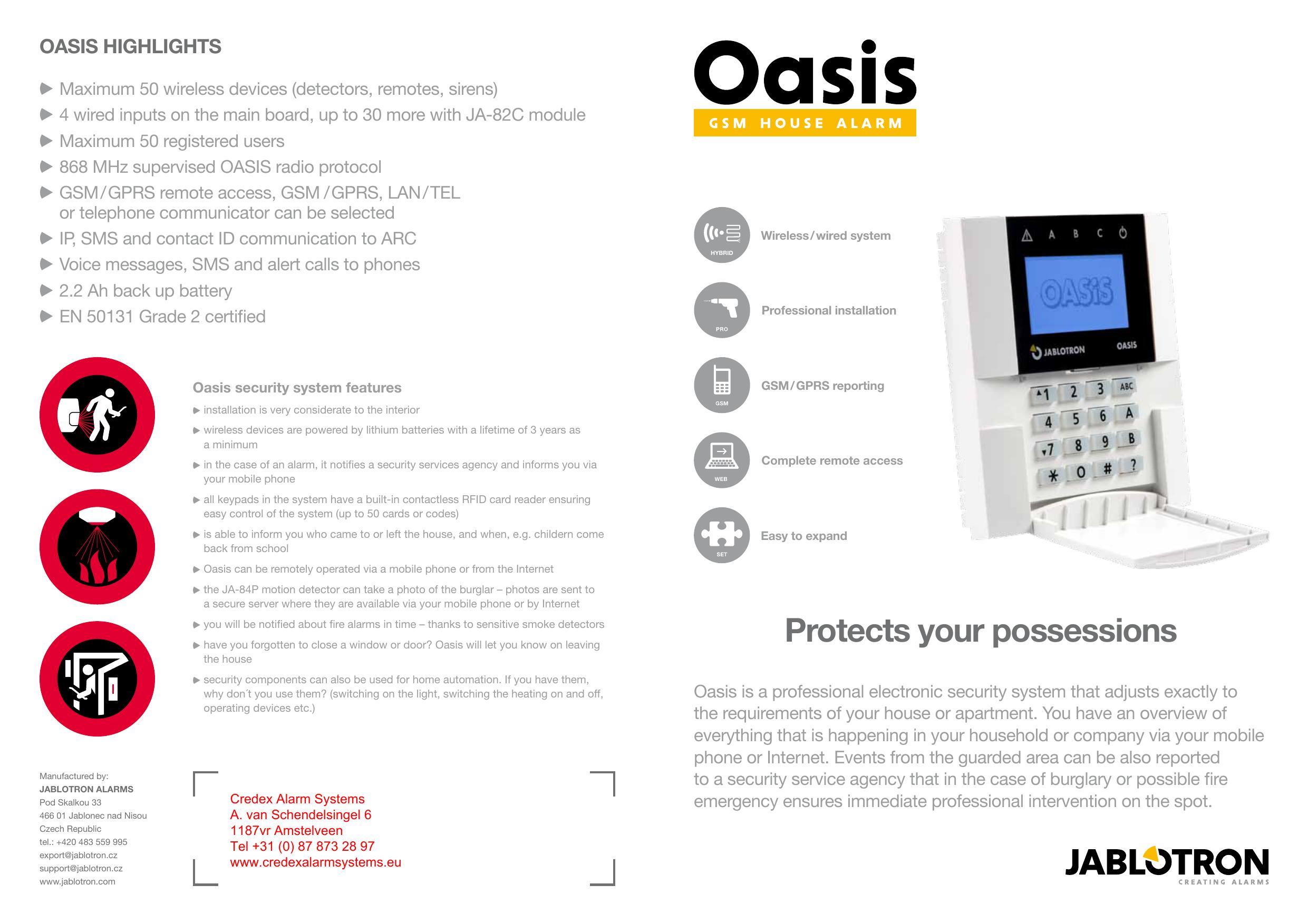 Sirène interne externe pour alarme Jablotron OASIS 80