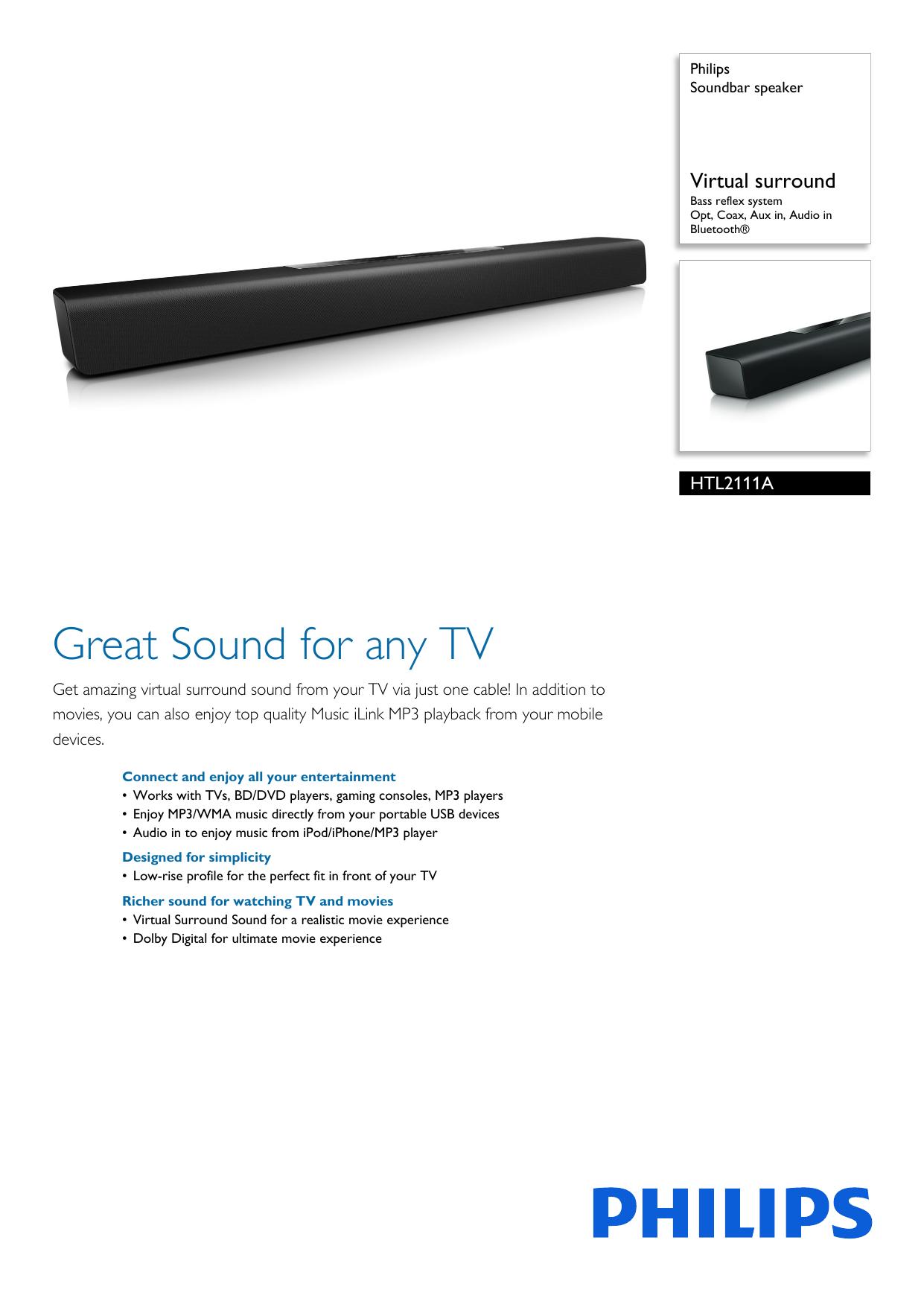 HTL2111A/F7 Philips Soundbar speaker | manualzz com