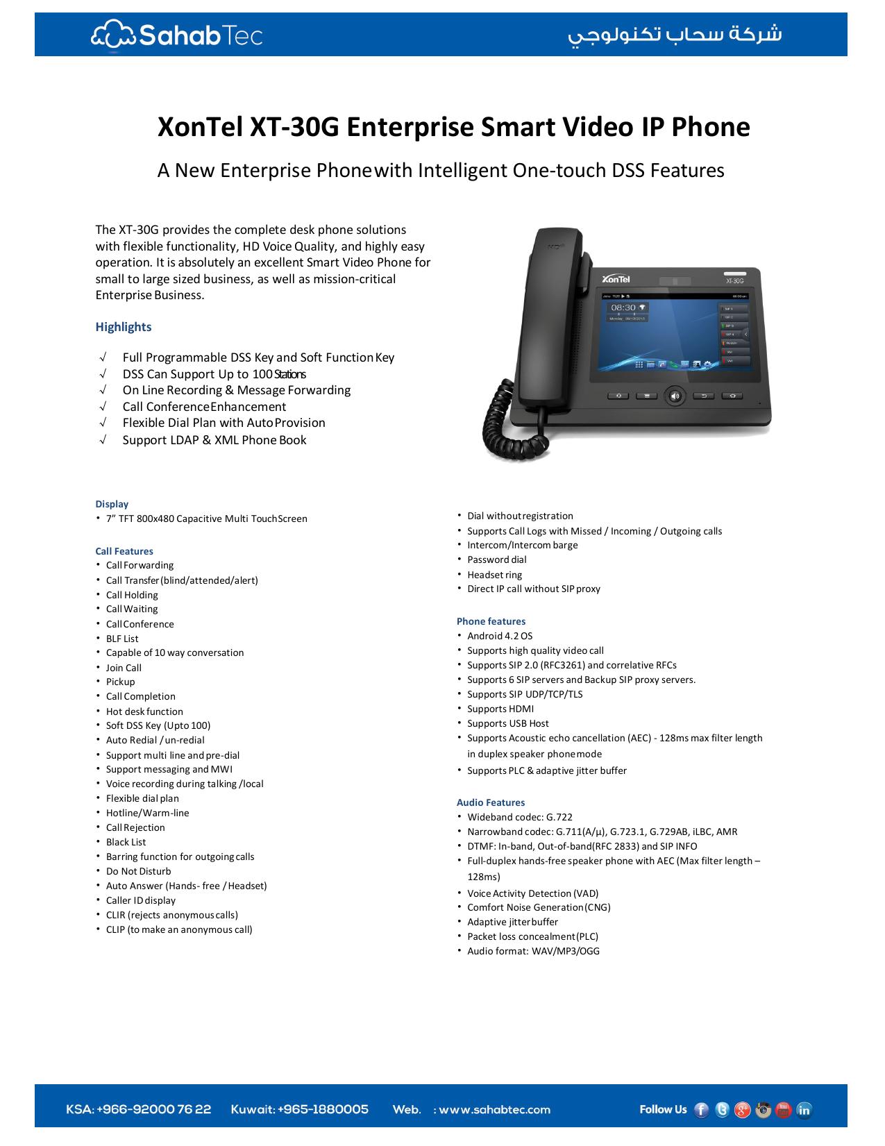 XonTel XT-30G Enterprise Smart Video IP Phone   manualzz com