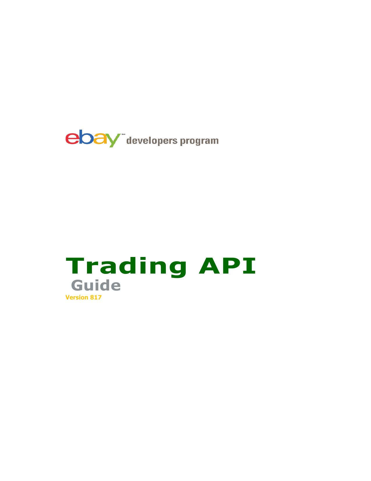 Trading API - ea4d - ebay XML API for Delphi | manualzz com