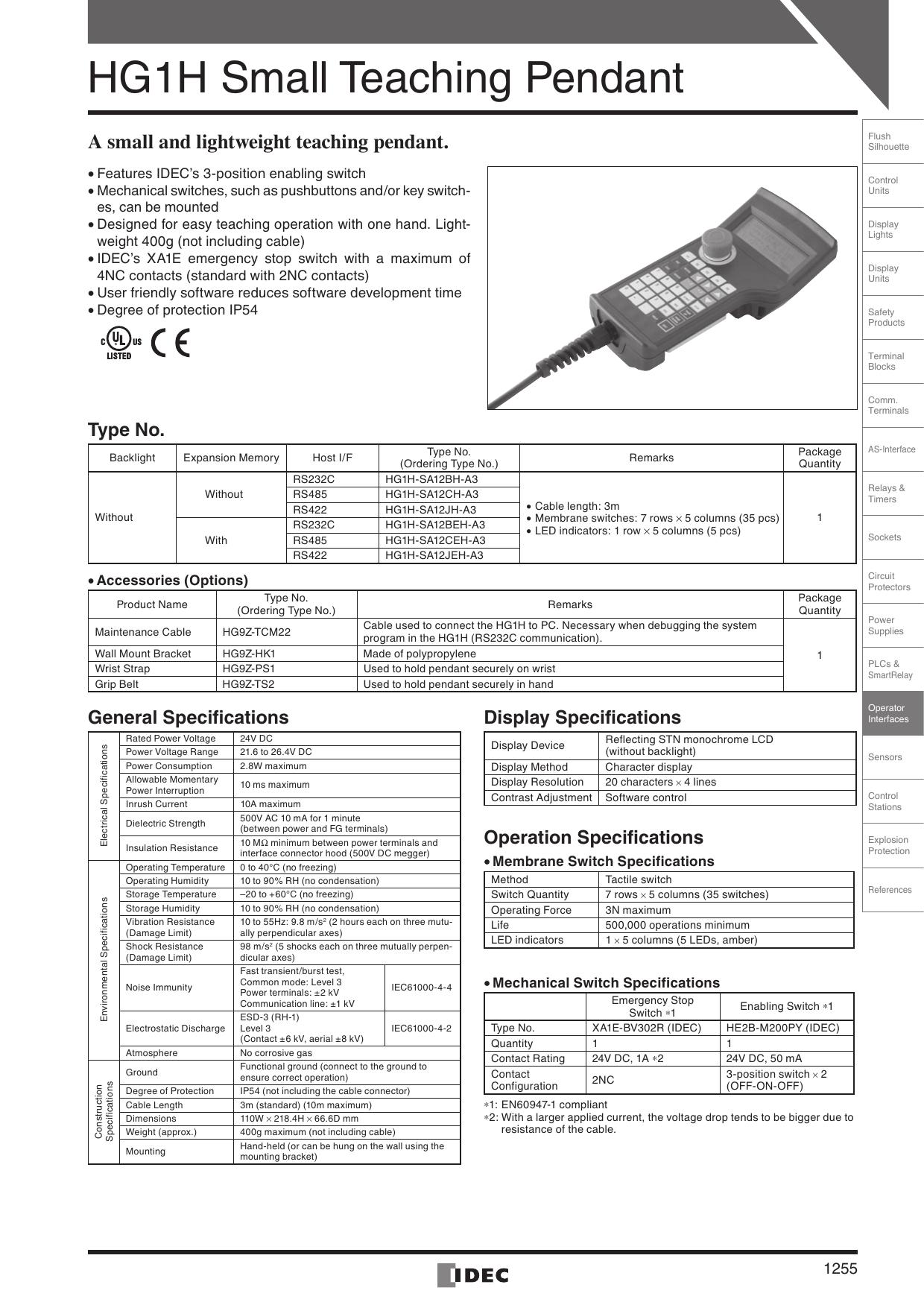 Idec Pendant Relay Wiring Teaching Datasheet 1240x1755