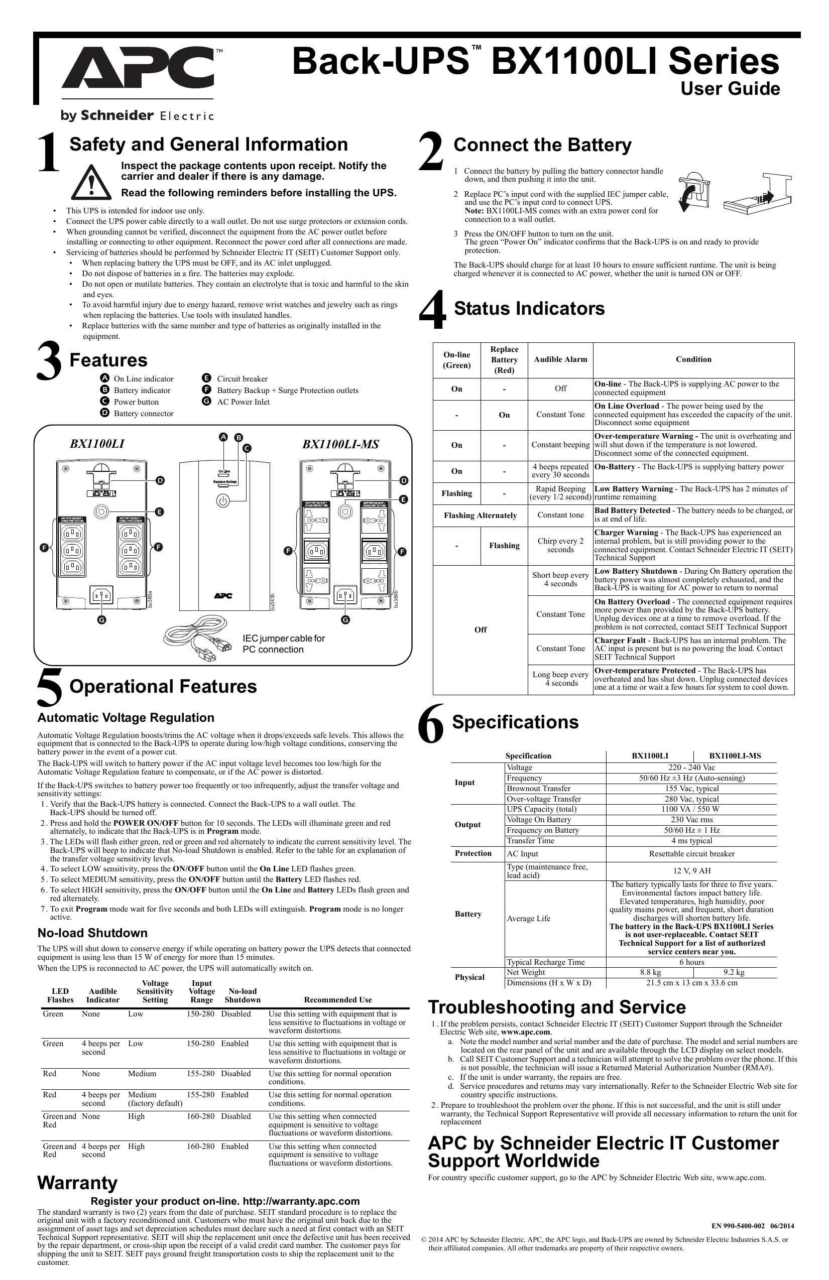 Back-UPS BX1100LI Series | manualzz com