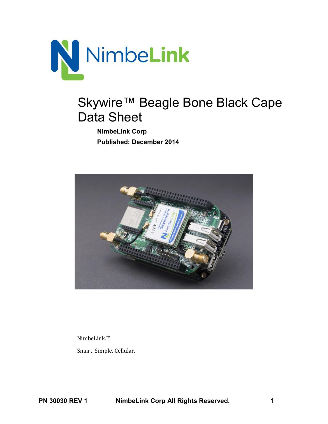 Skywire™ Beagle Bone Black Cape Data Sheet | manualzz com
